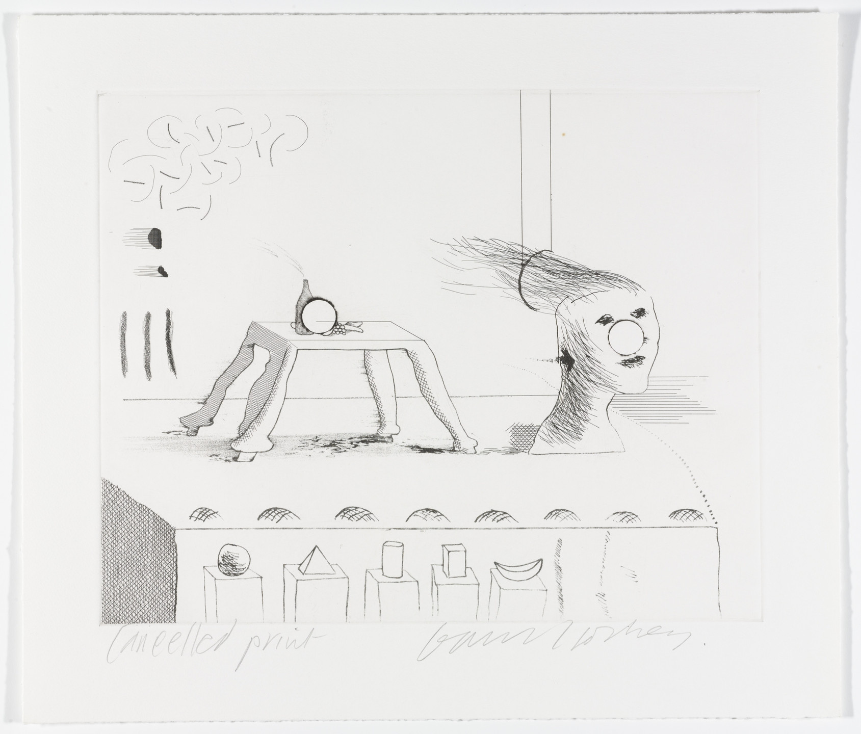 David Hockney. Cancellation proof for A Moving Still Life from The Blue Guitar. 1977