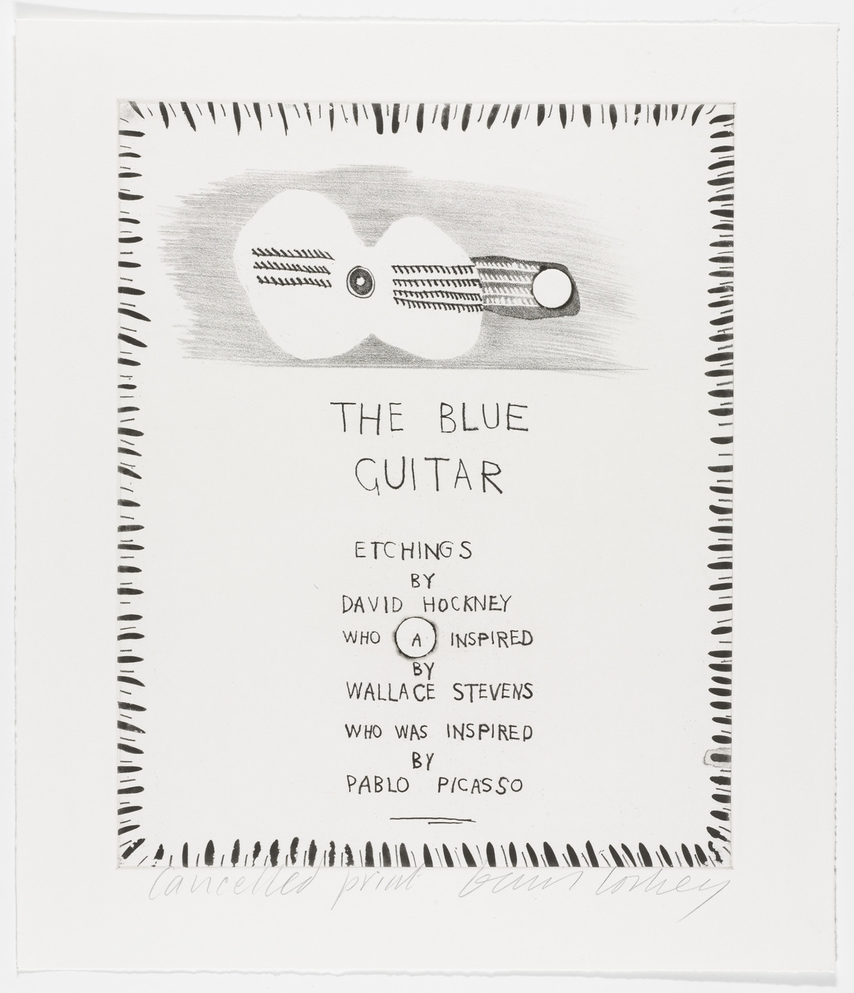 David Hockney. Cancellation proof for The Blue Guitar from The Blue Guitar. 1977