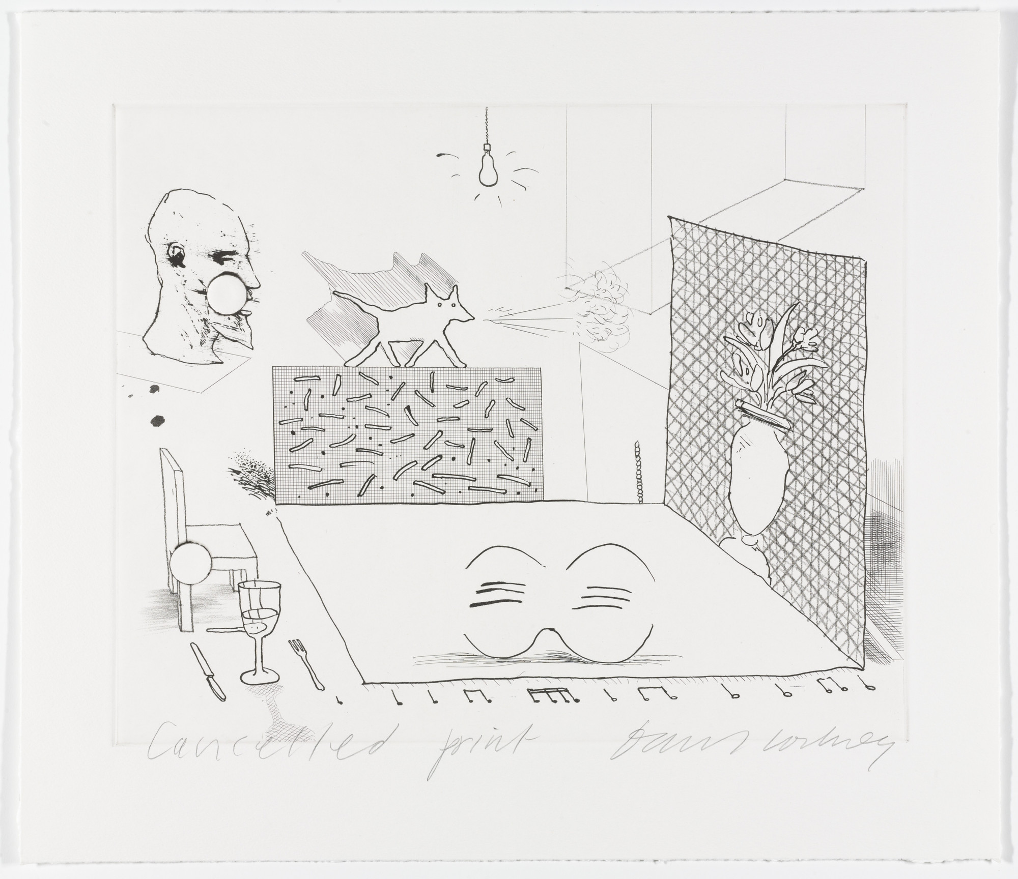 David Hockney. Cancellation proof for Discord Merely Magnifies from The Blue Guitar. 1977