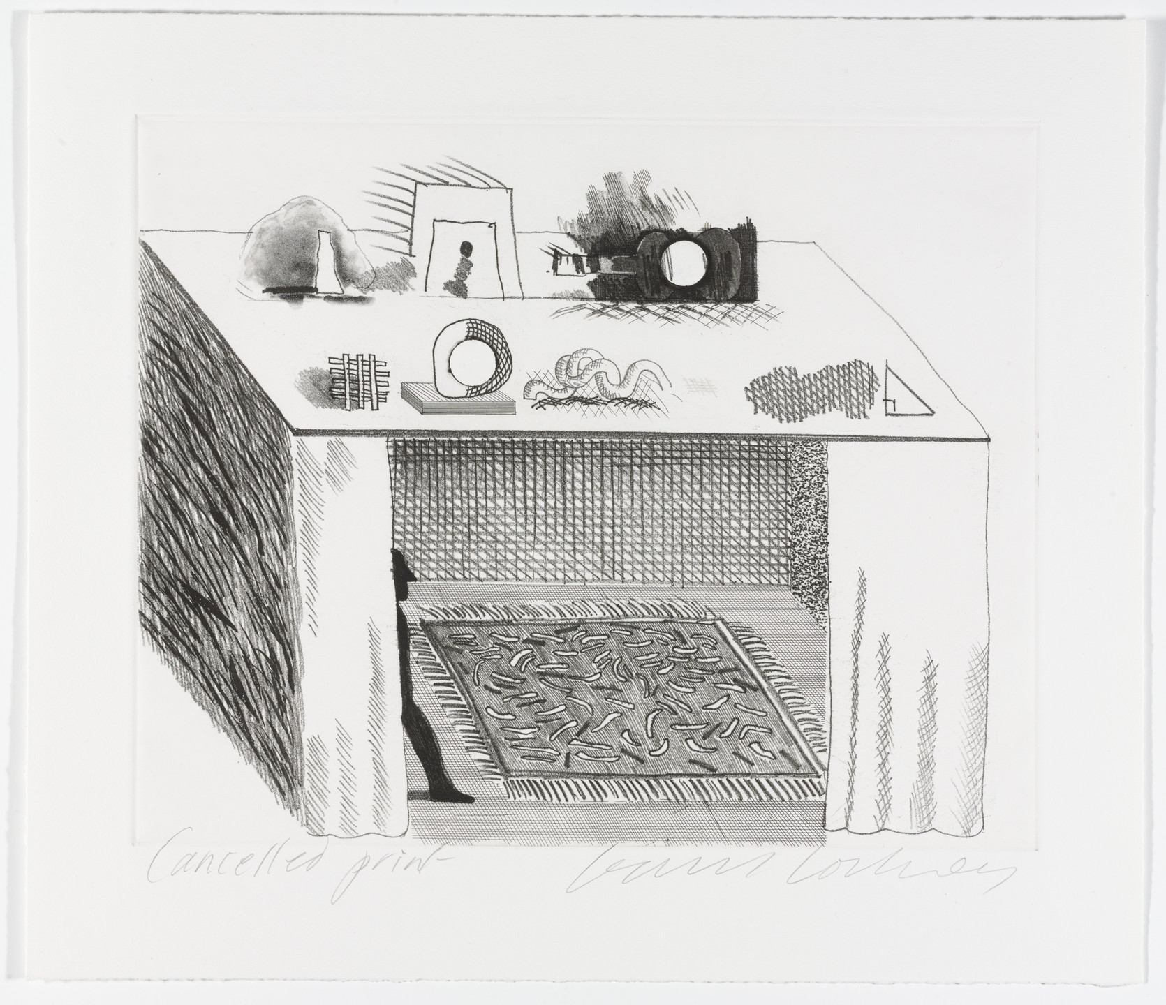 David Hockney. Cancellation proof for In a Chiaroscuro from The Blue Guitar. 1977