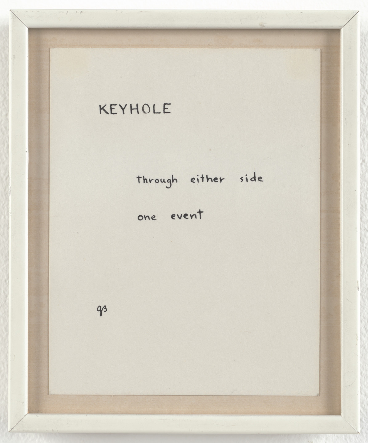 George Brecht. Keyhole. 1962
