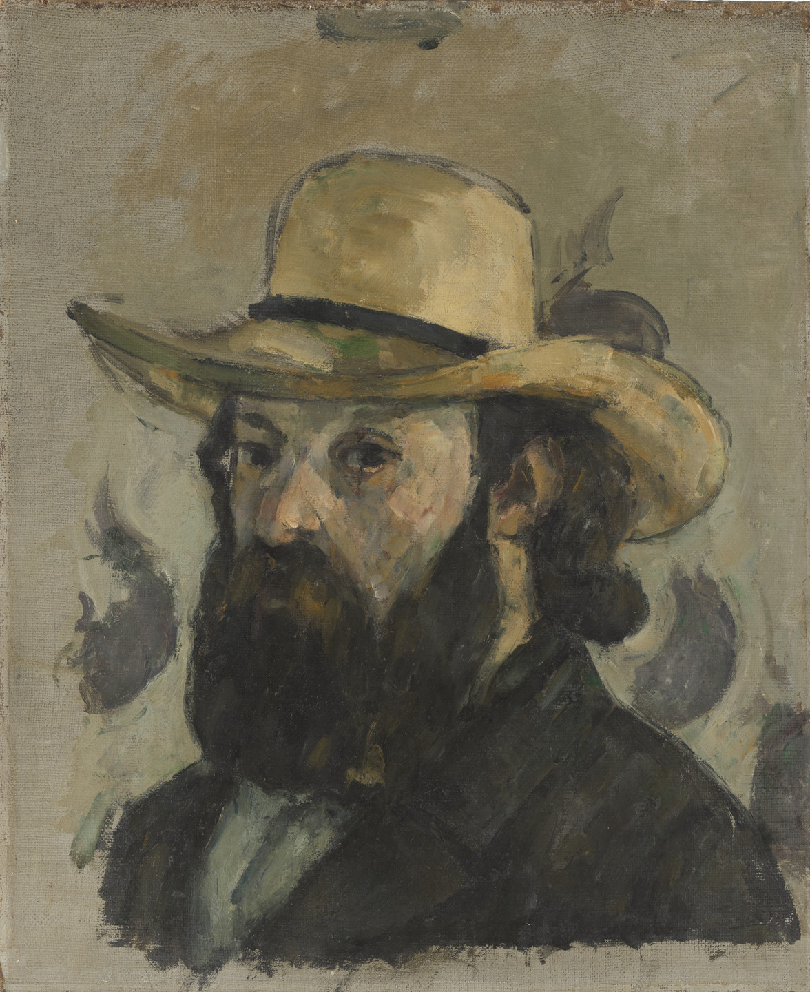 Paul Cézanne. Self-Portrait in a Straw Hat. 1875-76