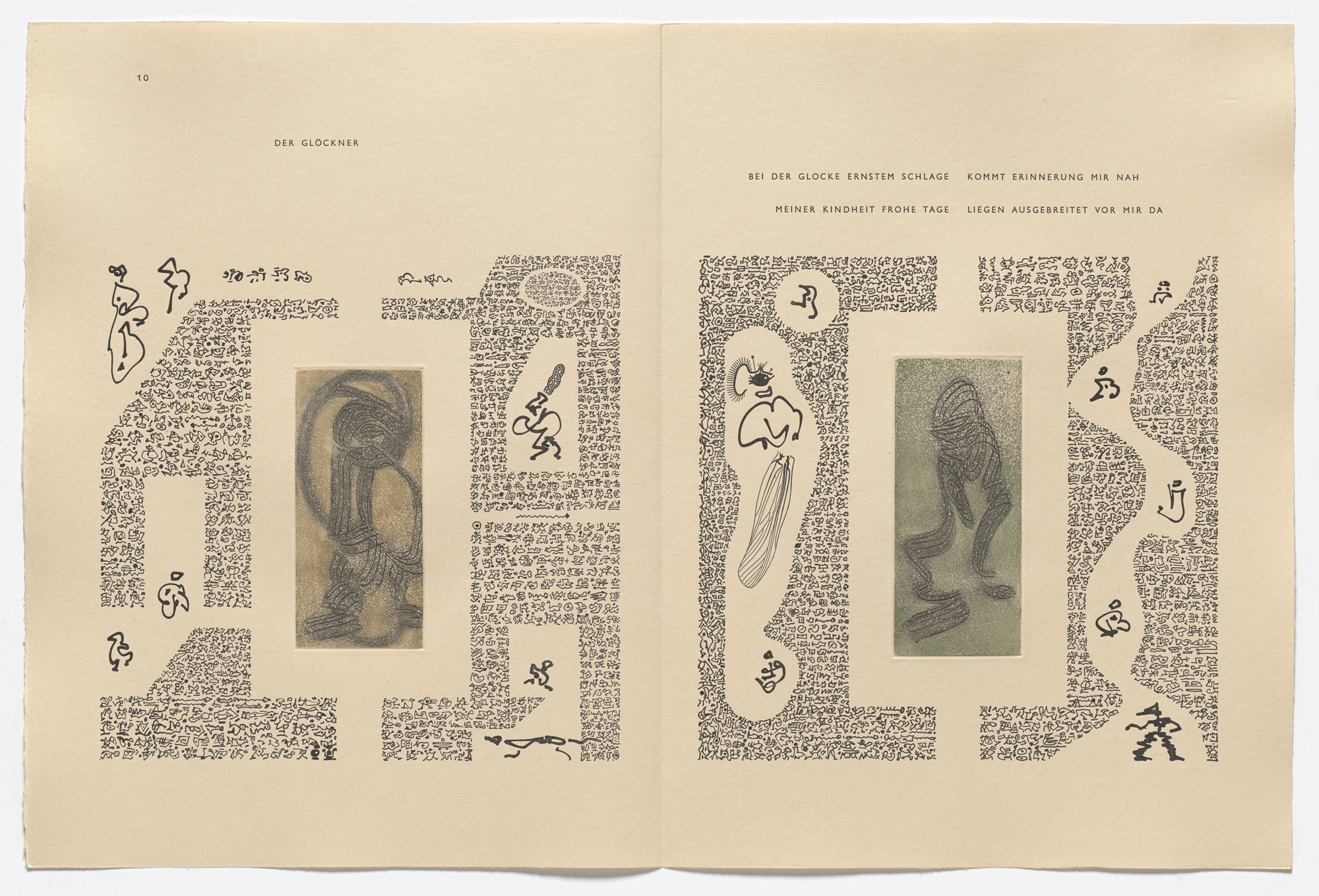 Max Ernst. In-text plates (page 10) from 65 Maximiliana ou l'exercice illégal de l'astronomie. 1964