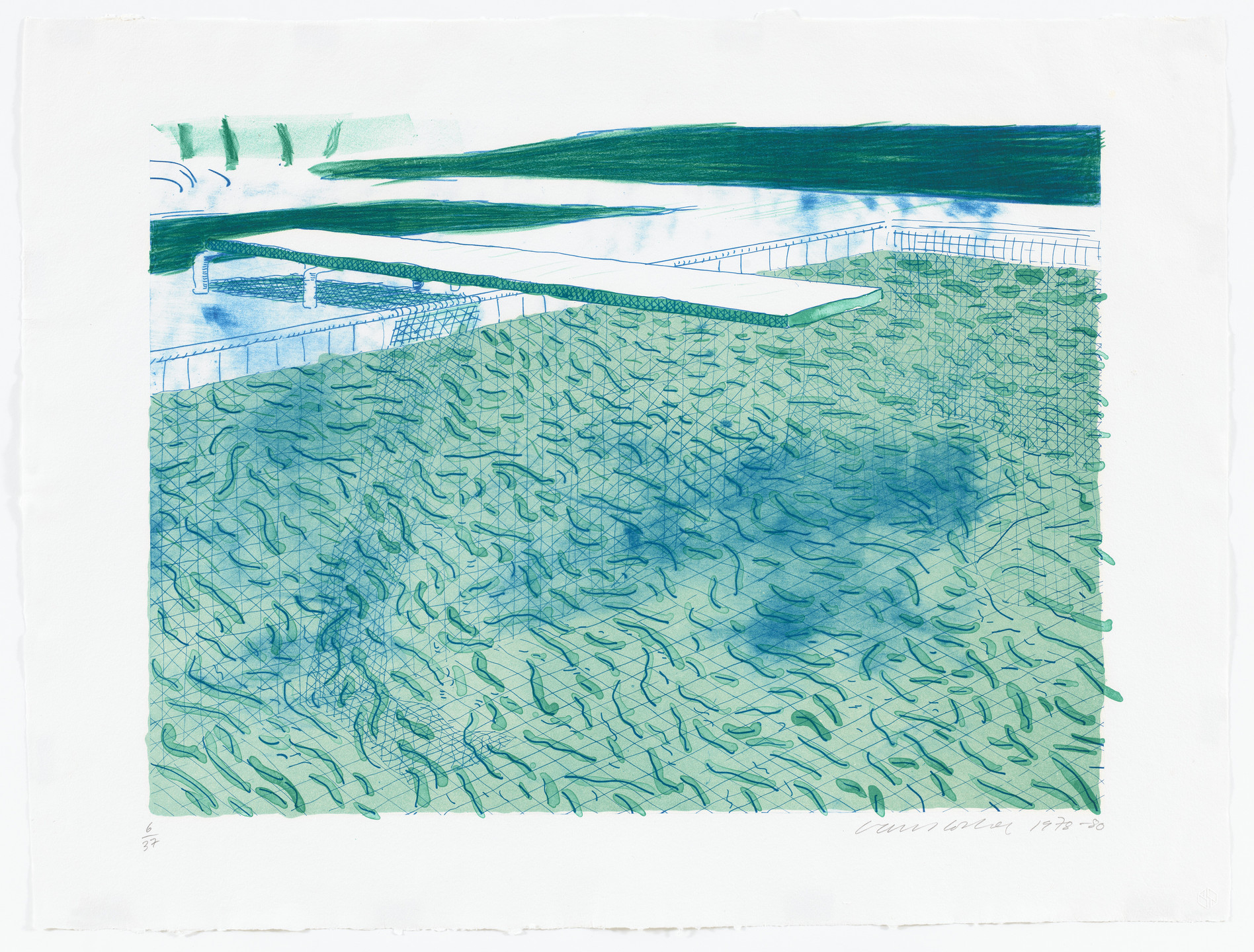 David Hockney. Lithograph of Water Made of Lines, a Green Wash, and a Light Blue Wash. 1978–80