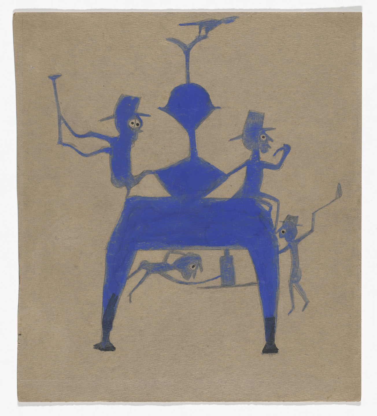 Bill Traylor. Figures on Blue Construction. c. 1939–42
