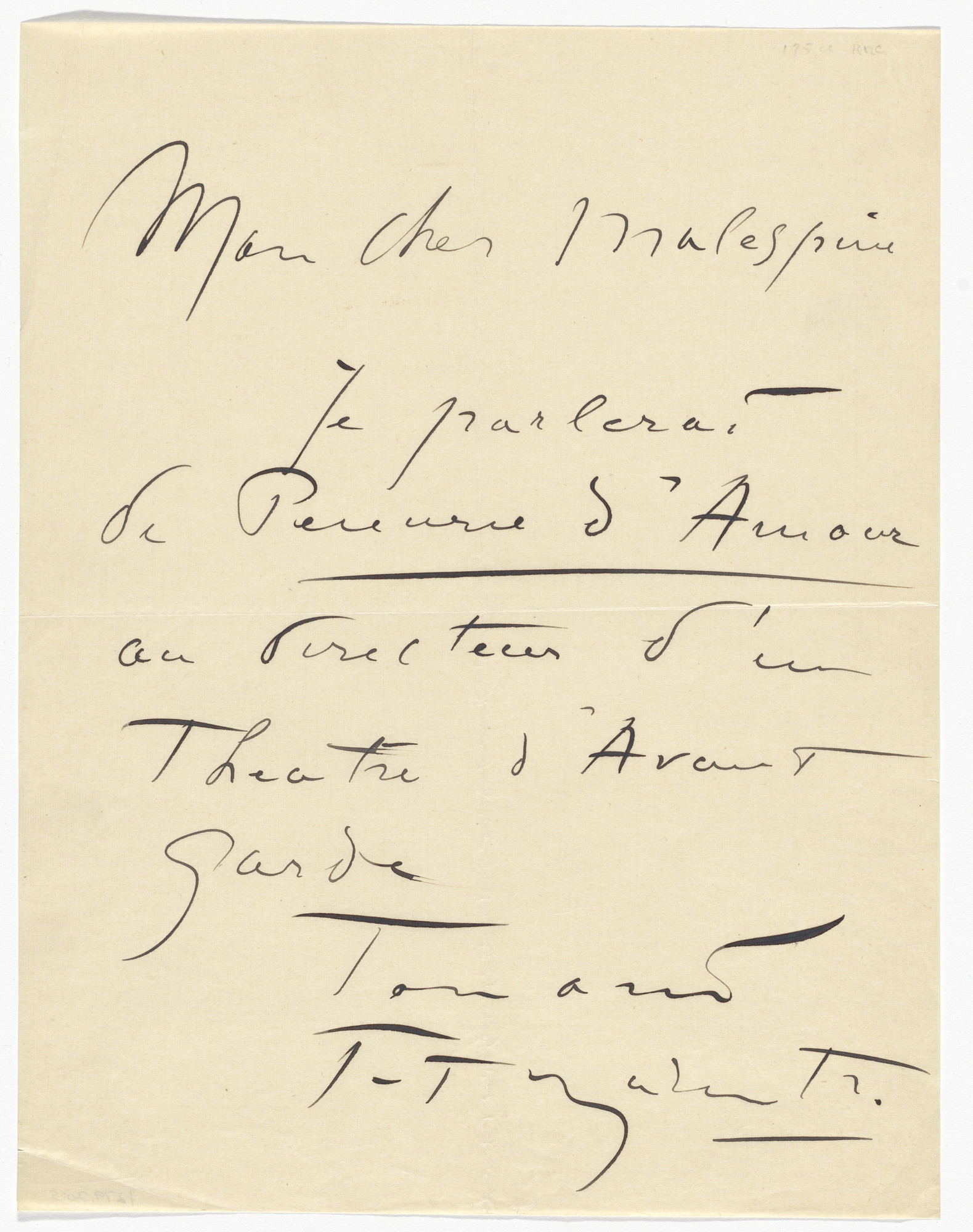 Filippo Tommaso Marinetti. Letter to Émile Malespine from Marinetti. 1920s