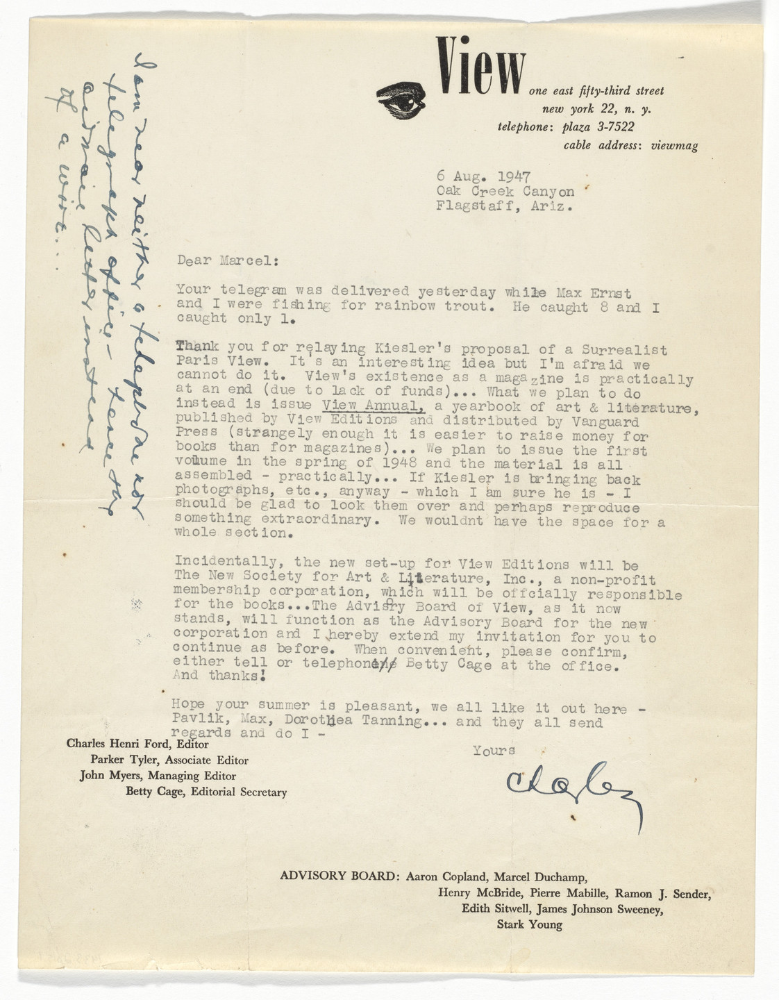 Unknown Designer. View Magazine Letterhead (Letter from Charles Henri Ford to Marcel Duchamp). 1947