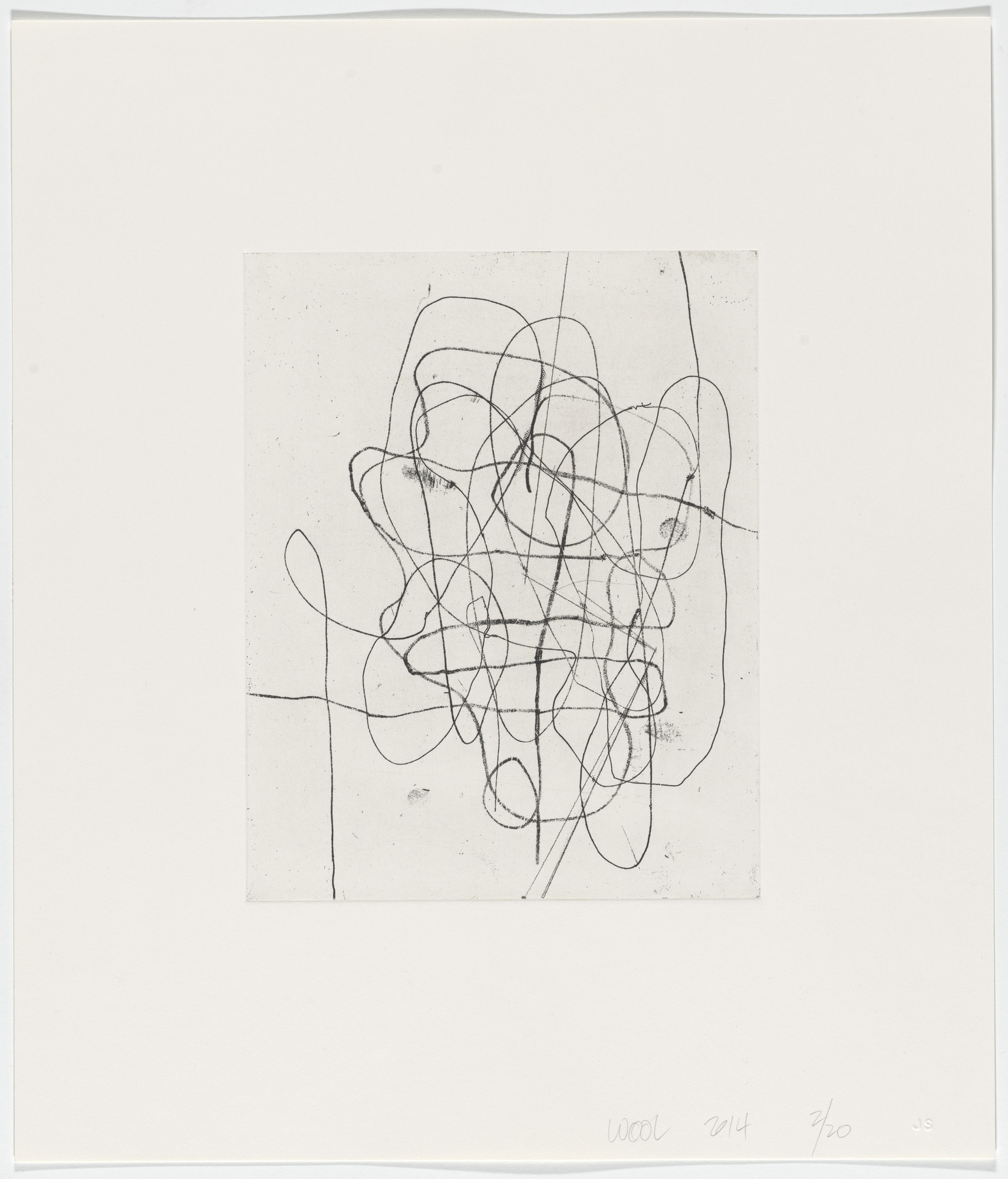 Christopher Wool. Untitled from Two Drypoints + One Softground Etching w/ Drypoint. 2014