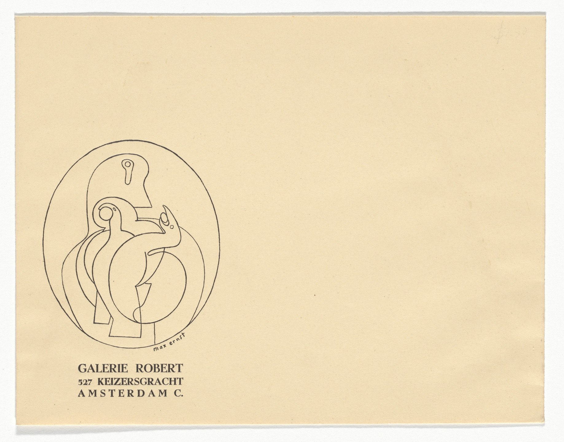 Unknown Designer, Max Ernst. Galerie Robert, Amsterdam Stationery Envelope. c.1938
