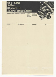 Adler Typewriters letterhead