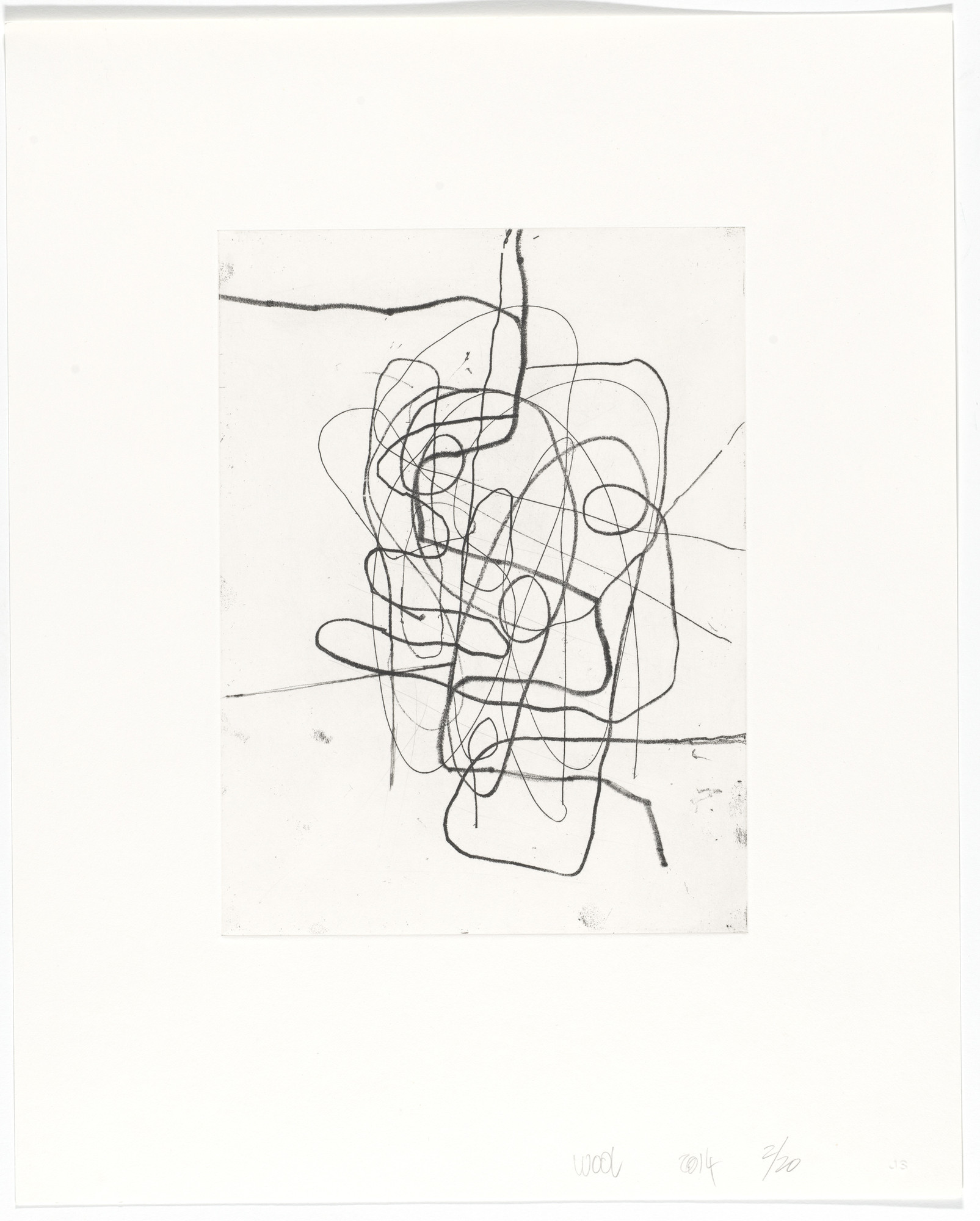 Christopher Wool. Untitled from Four Softground Etchings w/ Drypoint. 2014