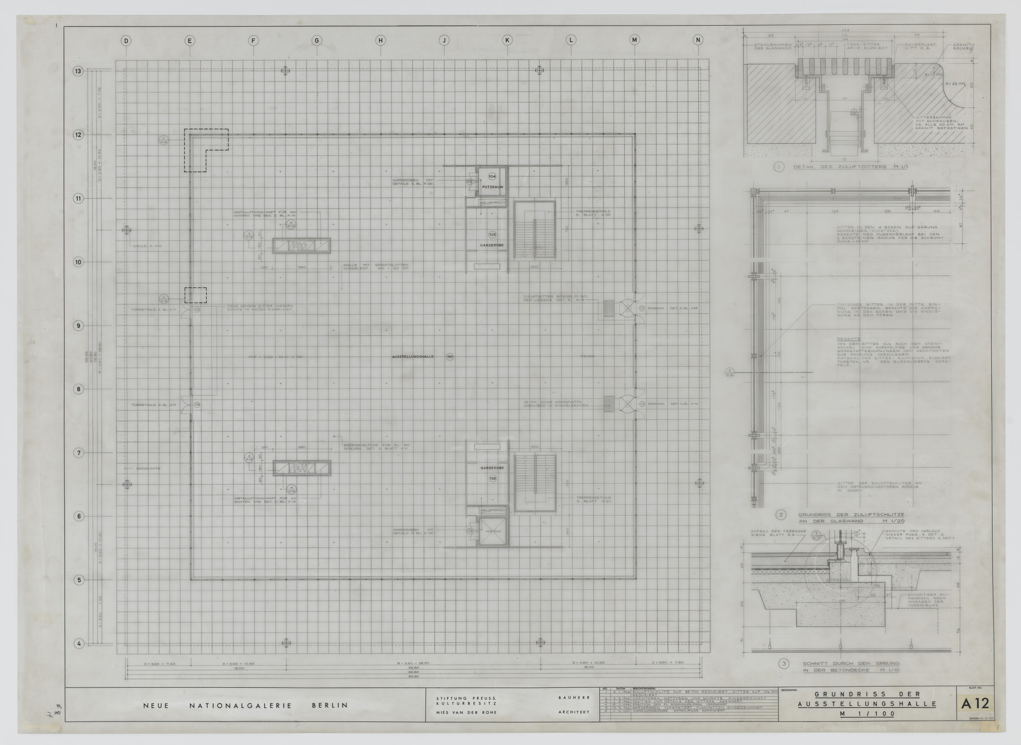 Ludwig Mies van der Rohe. New National Gallery, Berlin, Germany (Floor plan of exhibition hall). 1967