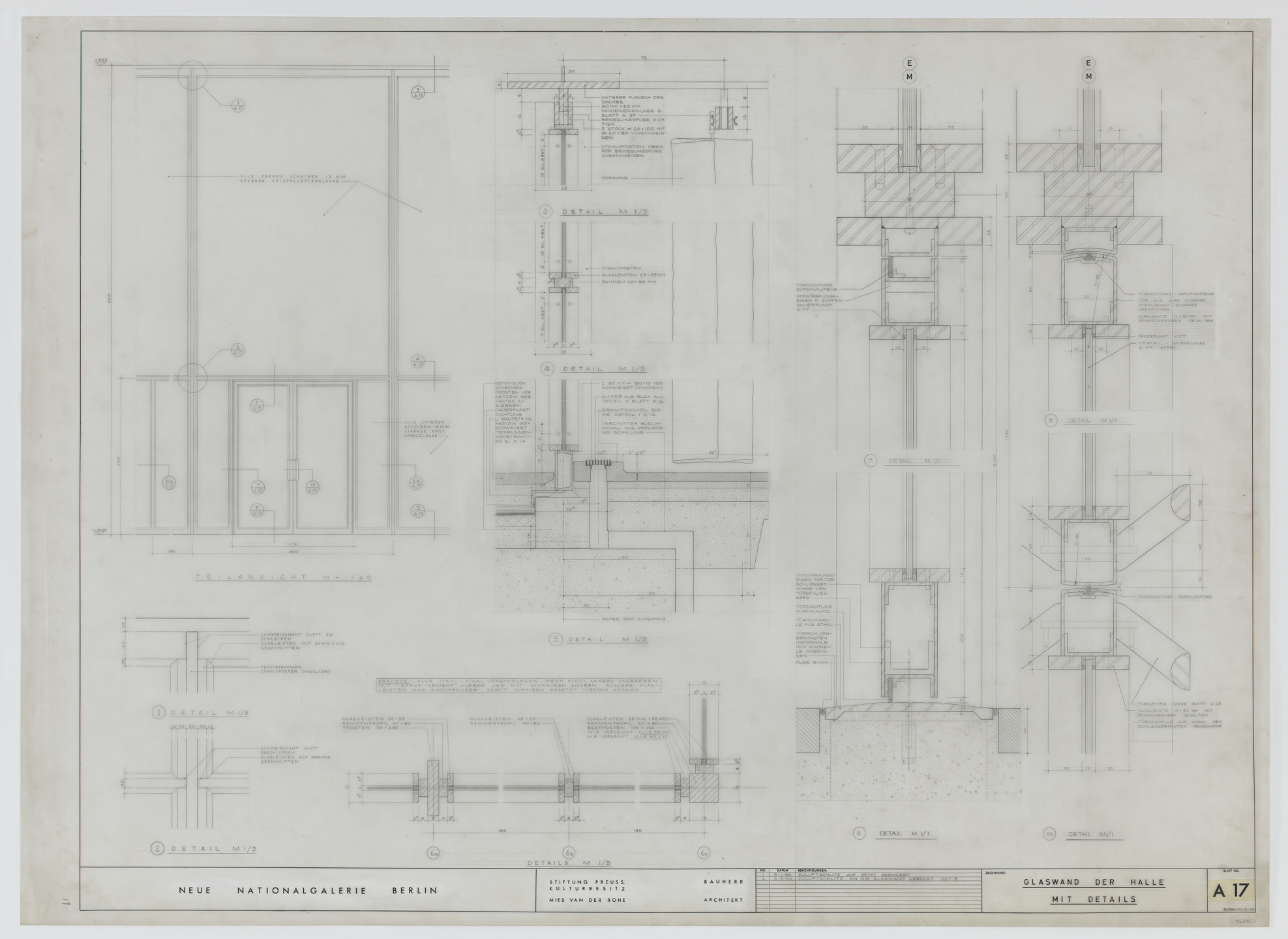 Ludwig Mies van der Rohe. New National Gallery, Berlin, Germany (Elevations and sections, glass wall in hall with details). 1966