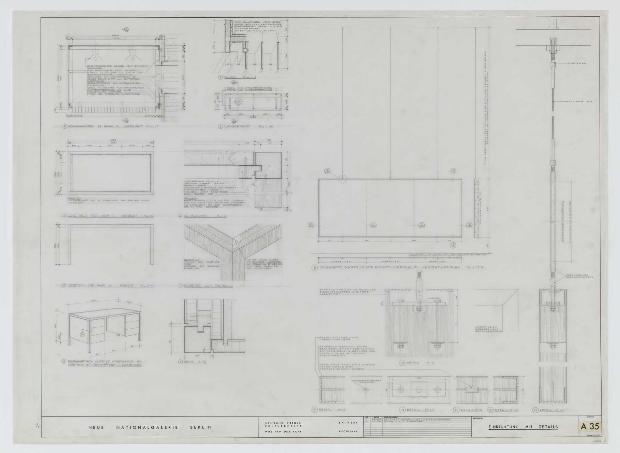 Ludwig Mies van der Rohe. New National Gallery, Berlin, Germany (Plans, elevation, sections, perspective and isometric view. Furnishings with details.). 1968