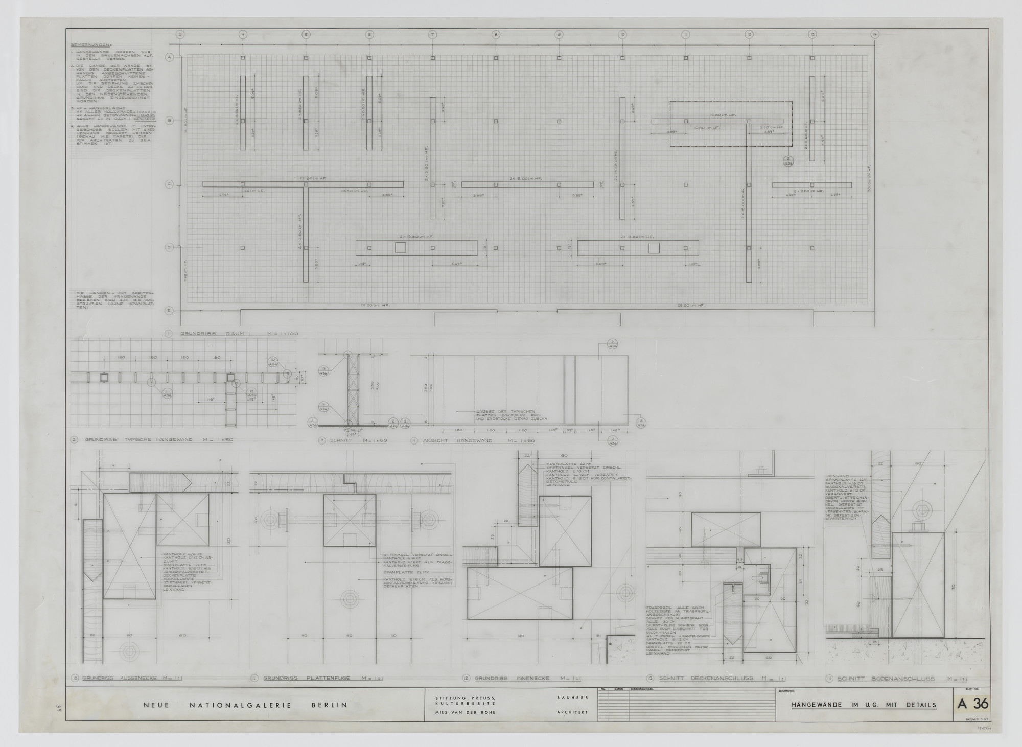 Ludwig Mies van der Rohe. New National Gallery, Berlin, Germany (Plans, sections. Suspended walls on lower level with details). 1967