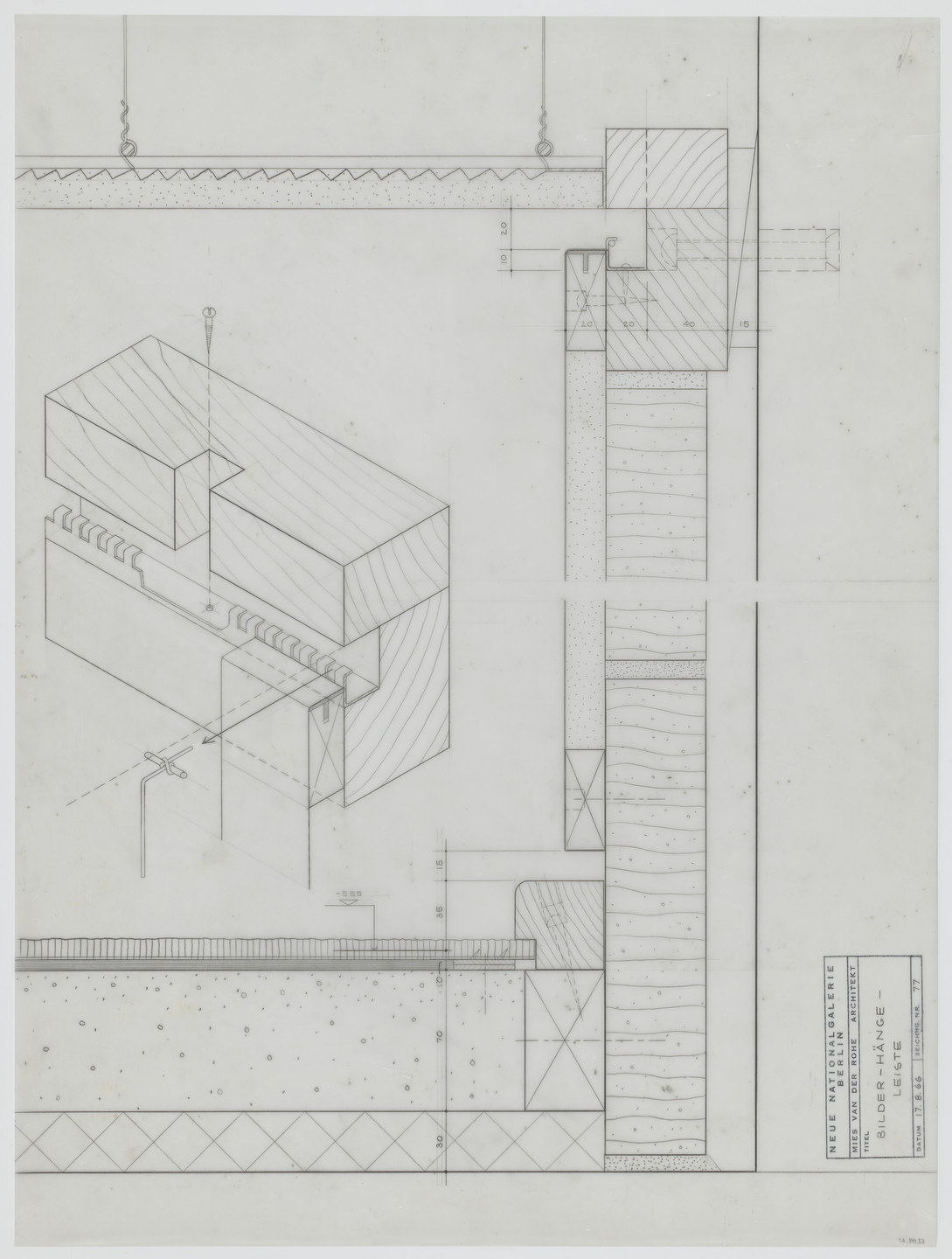 Ludwig Mies van der Rohe. New National Gallery, Berlin, Germany (Section, sectional perspective. Picture-hanging rod). 1966