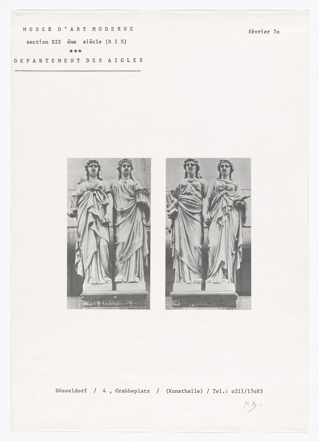 Marcel Broodthaers. Poster for Section XIXe siècle (BIS), Düsseldorf, 1970. 1970