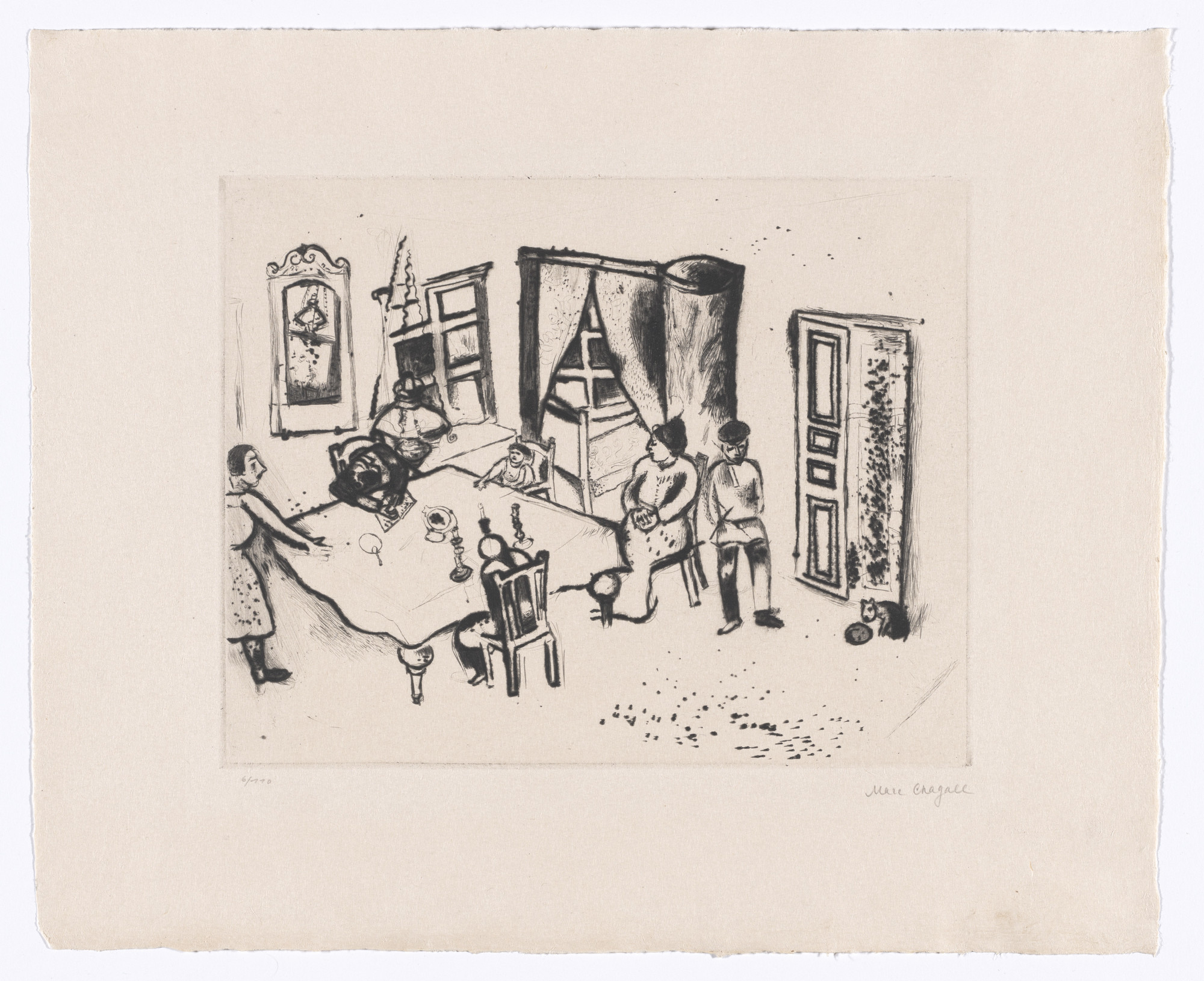 Marc Chagall. Dining Room (Speisezimmer) from My Life (Mein Leben). 1922, published 1923