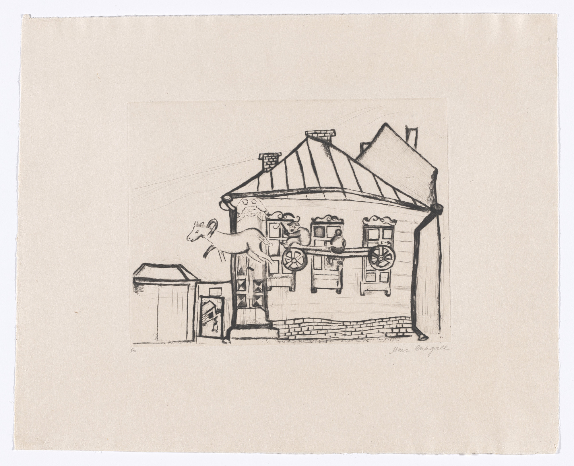Marc Chagall. House in Witebsk (Haus in Witebsk) from My Life (Mein Leben). 1922, published 1923