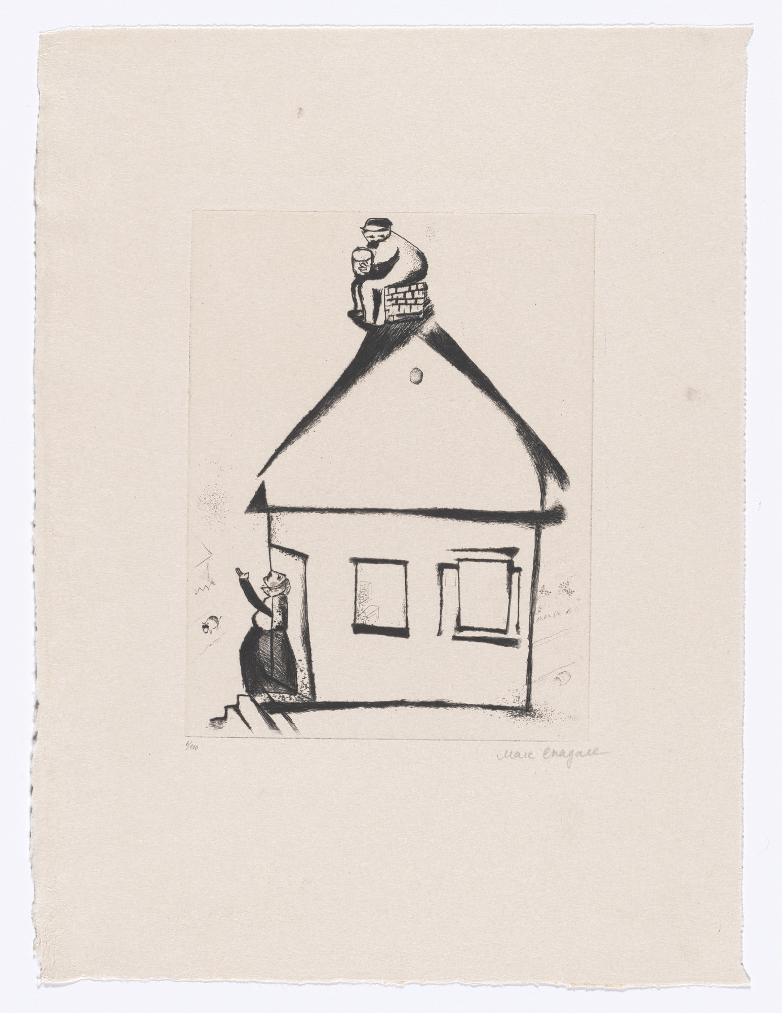 Marc Chagall. Grandfather's House (Haus des Grossvaters) from My Life ((Mein Leben). 1922, published 1923