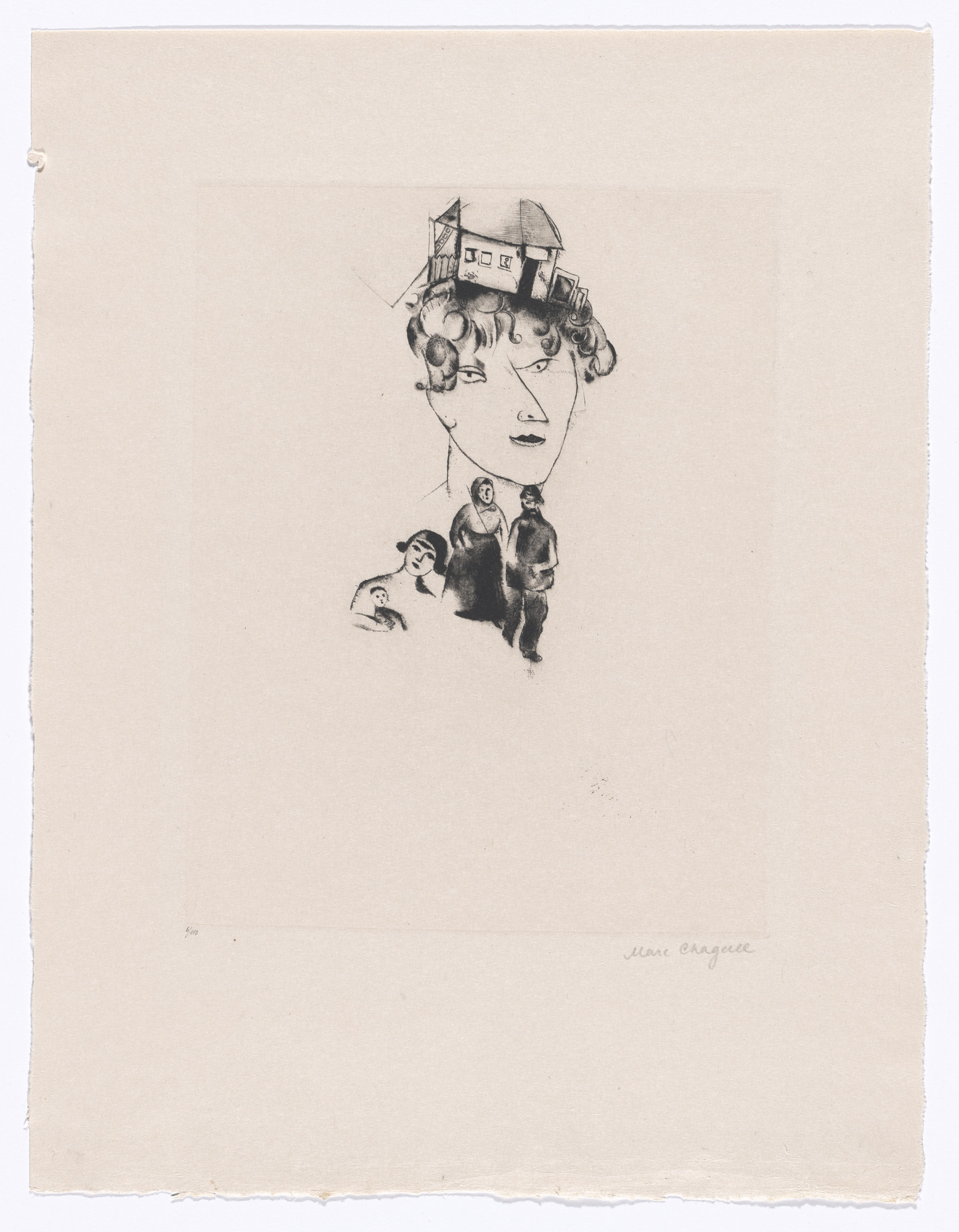 Marc Chagall. Self Portrait (Selbstportrait) from My Life (Mein Leben). 1922, published 1923