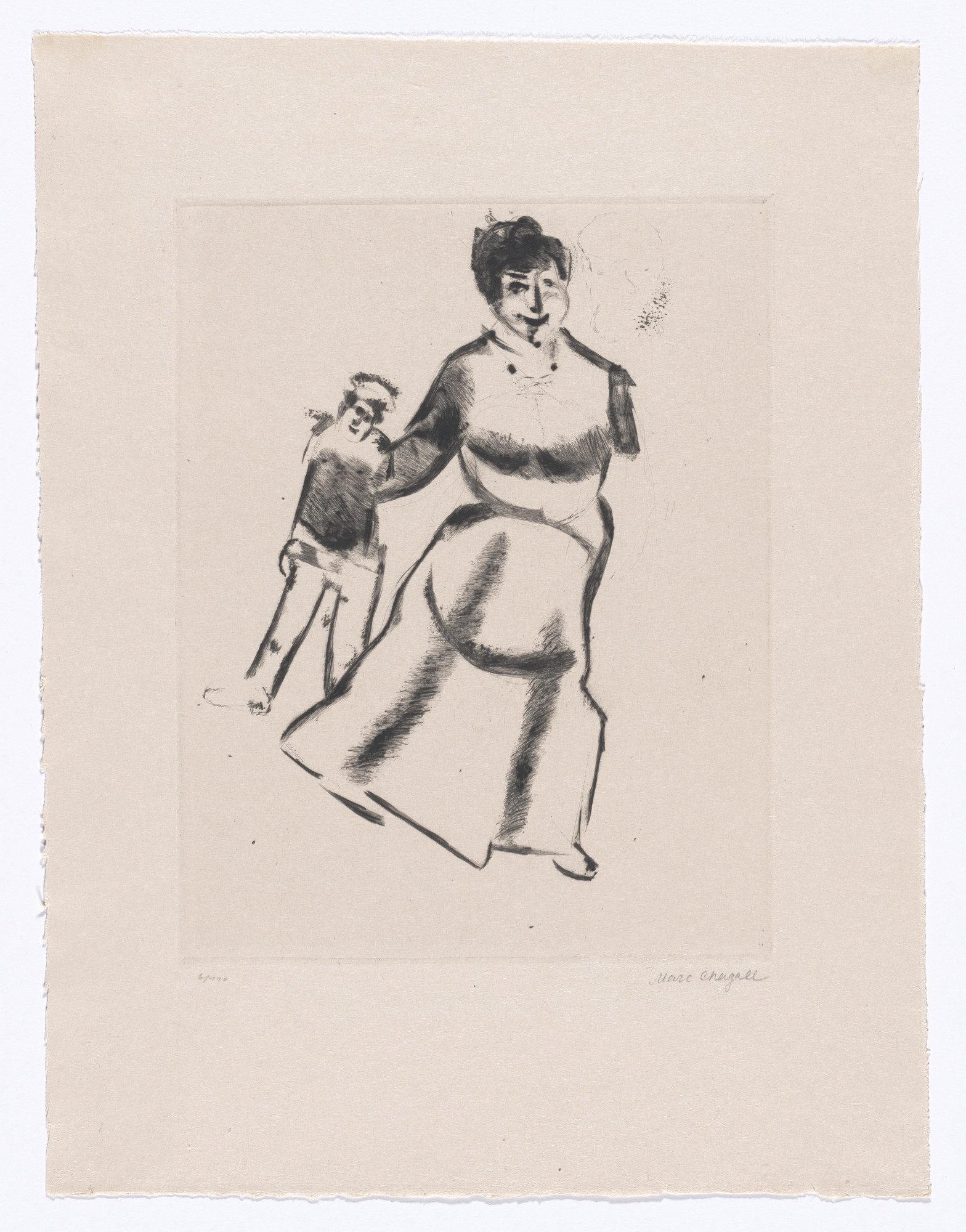 Marc Chagall. Mutter und Sohn (Mother and Son) from My Life (Mein Leben). 1922, published 1923