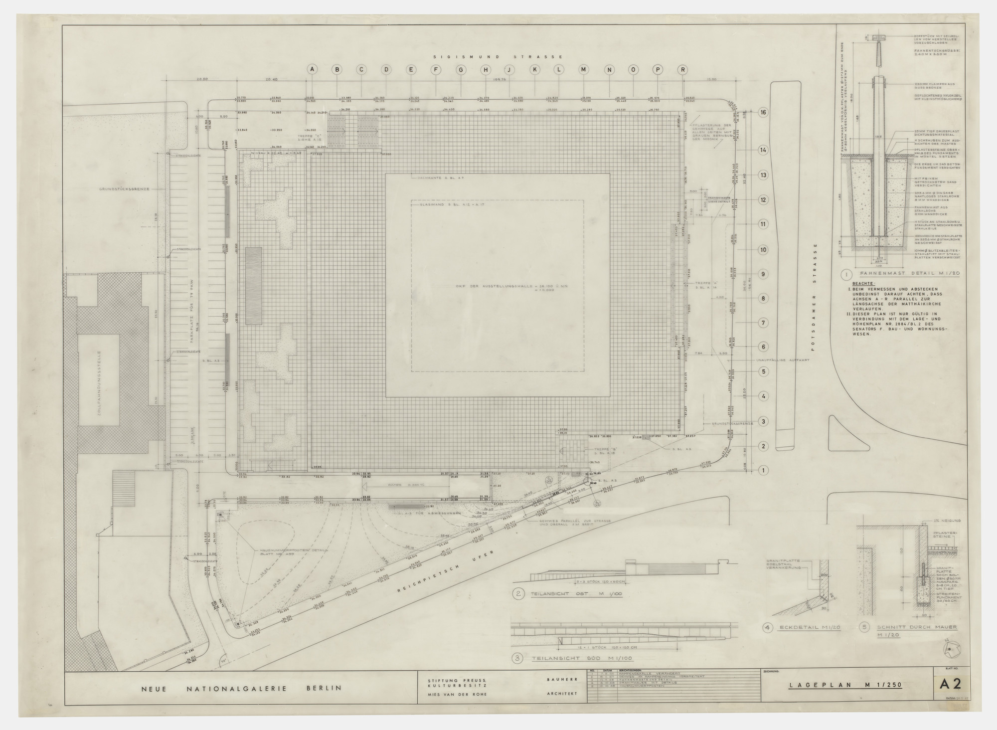 Ludwig Mies van der Rohe. New National Gallery, Berlin, Germany (Site plan). c. 1962-68