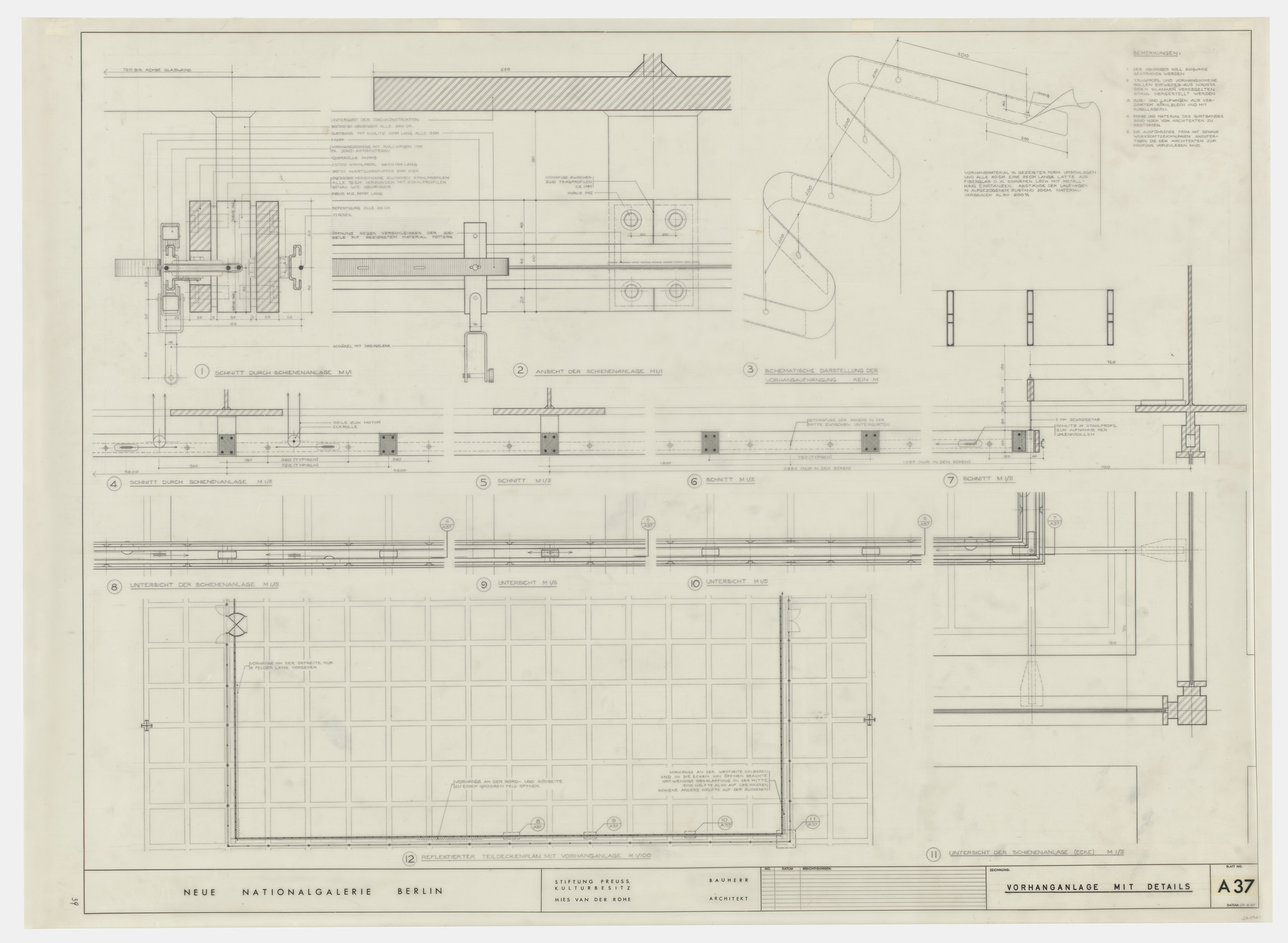 Ludwig Mies van der Rohe. New National Gallery, Berlin, Germany (Curtain rods with details. Plans, sections, and isometric view). c. 1962-68