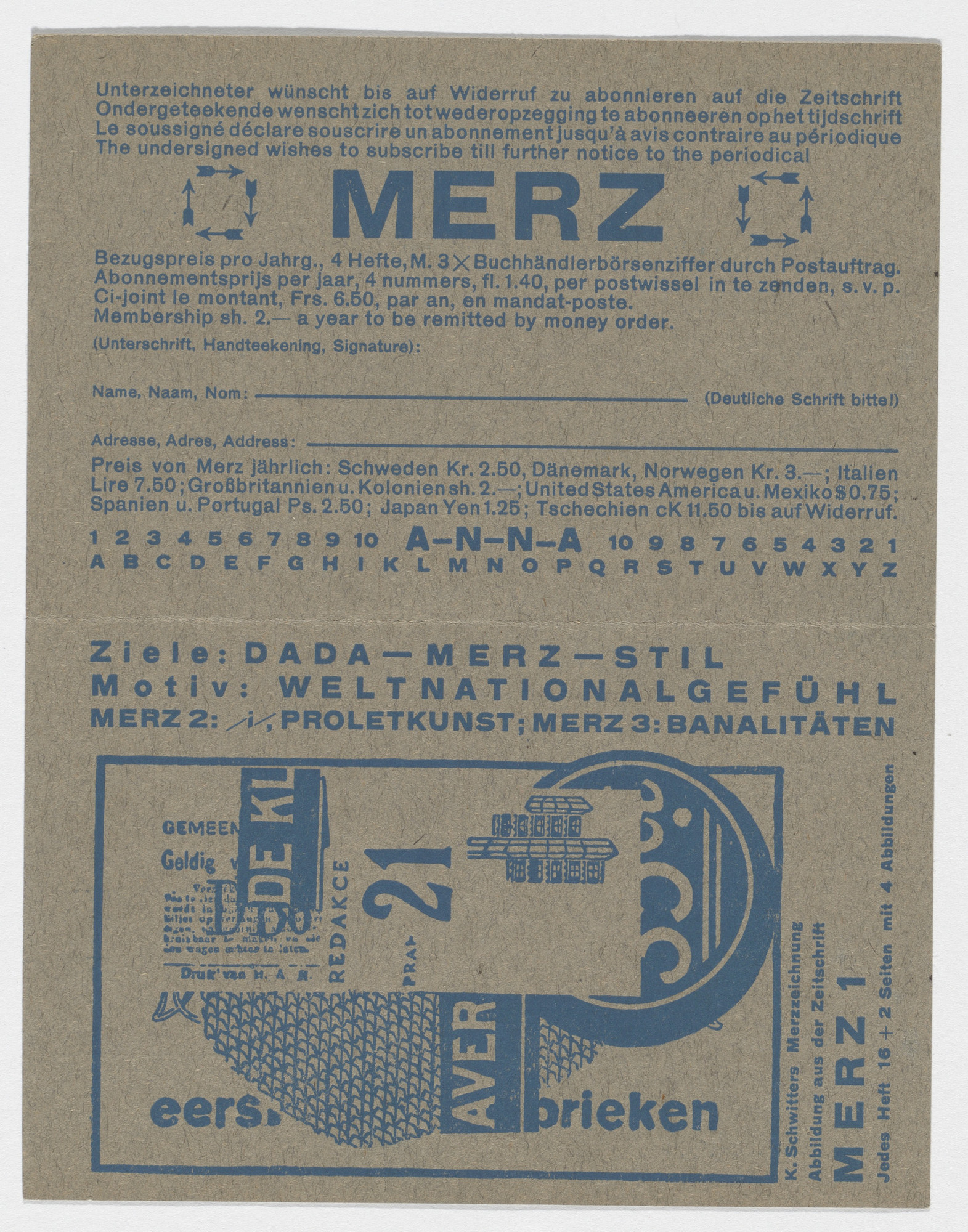 Kurt Schwitters. Merz subscription card. 1923