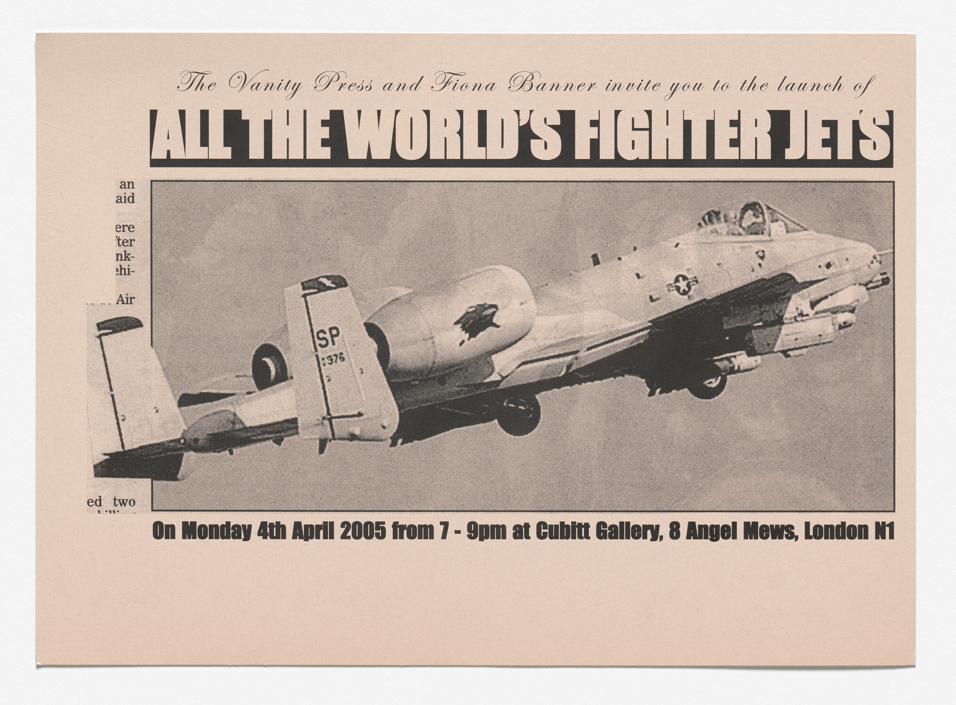 Fiona Banner. All the World's Fighter Plane 2004 Book Launch at Cubitt Gallery. 2005