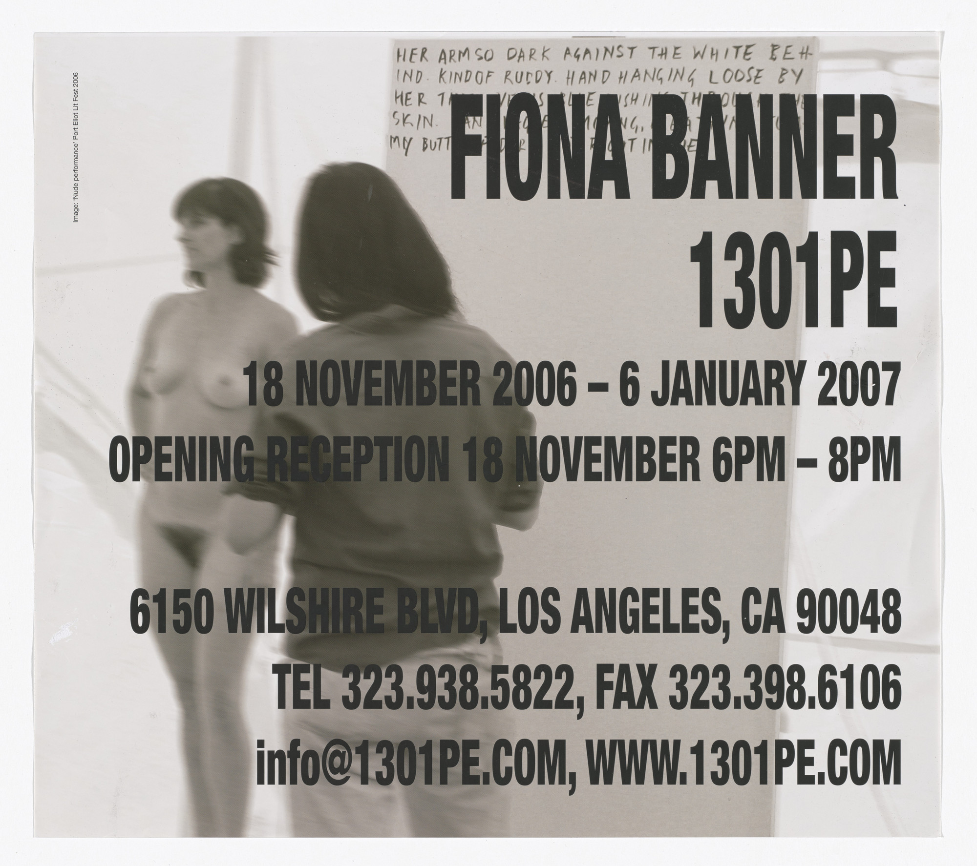 Fiona Banner. Poster for exhibition at 1301PE, Los Angeles, November 18, 2006-January 6, 2007, _Poster for exhibition at 1301PE, Los Angeles, November 18, 2006-January 6, 2007_. 2006