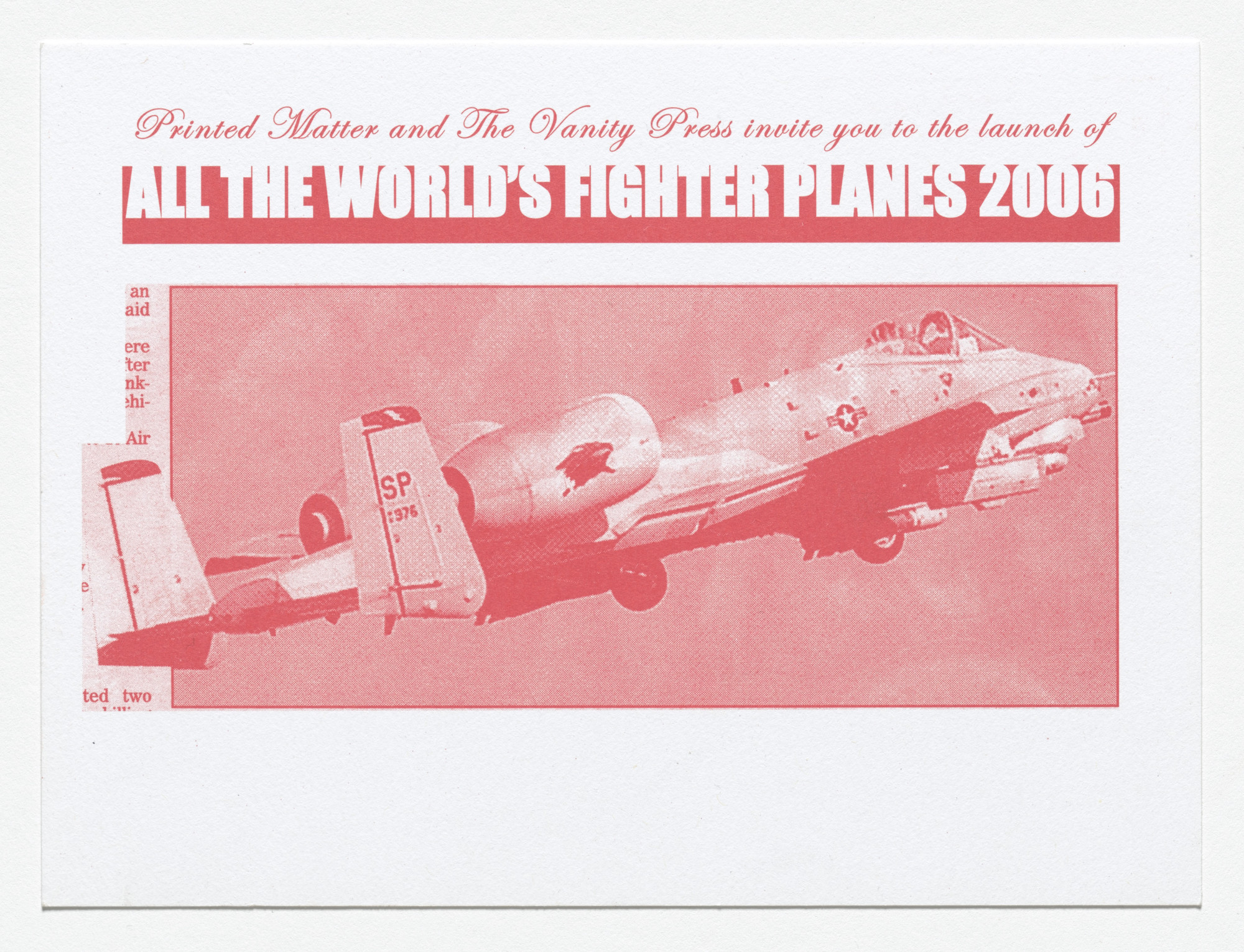 Fiona Banner. All the World's Fighter Planes Invite, Printed Matter. 2006