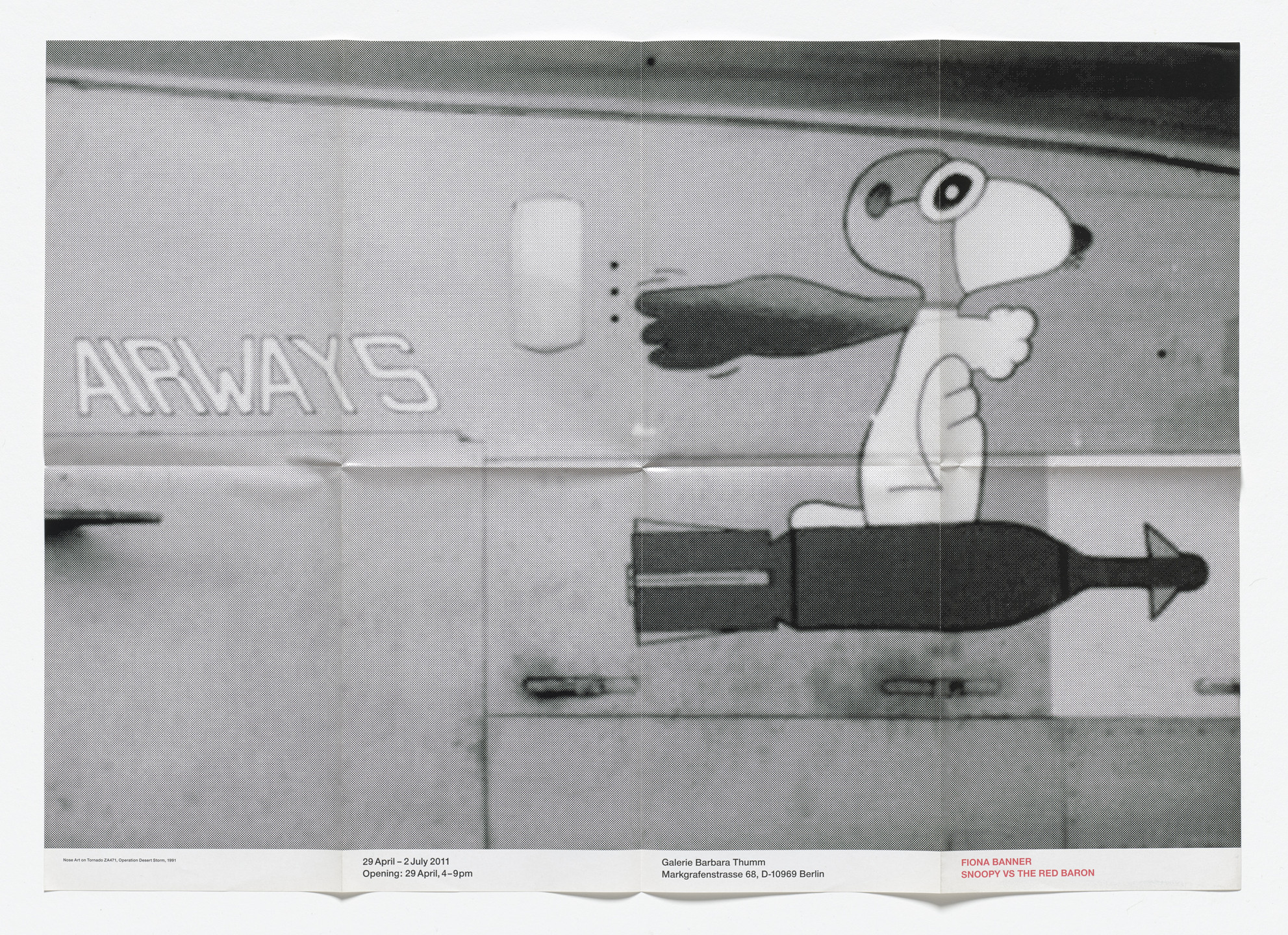 Fiona Banner. Poster for Snoopy Vs The Red Baron, Galerie Barbara Thumm, Berlin, April 29–July 2, 2011. 2011