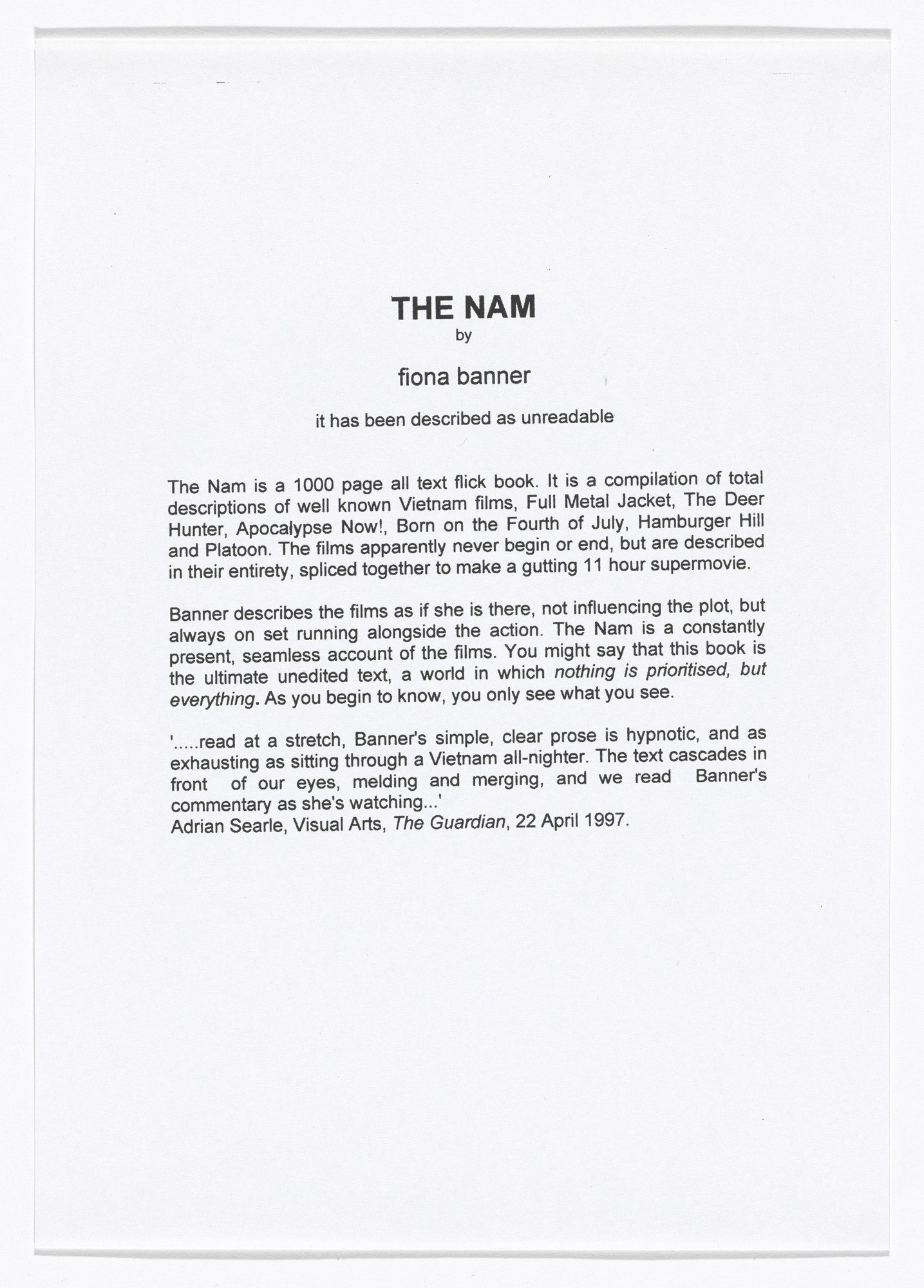 Fiona Banner. Press release for The Nam. n.d.