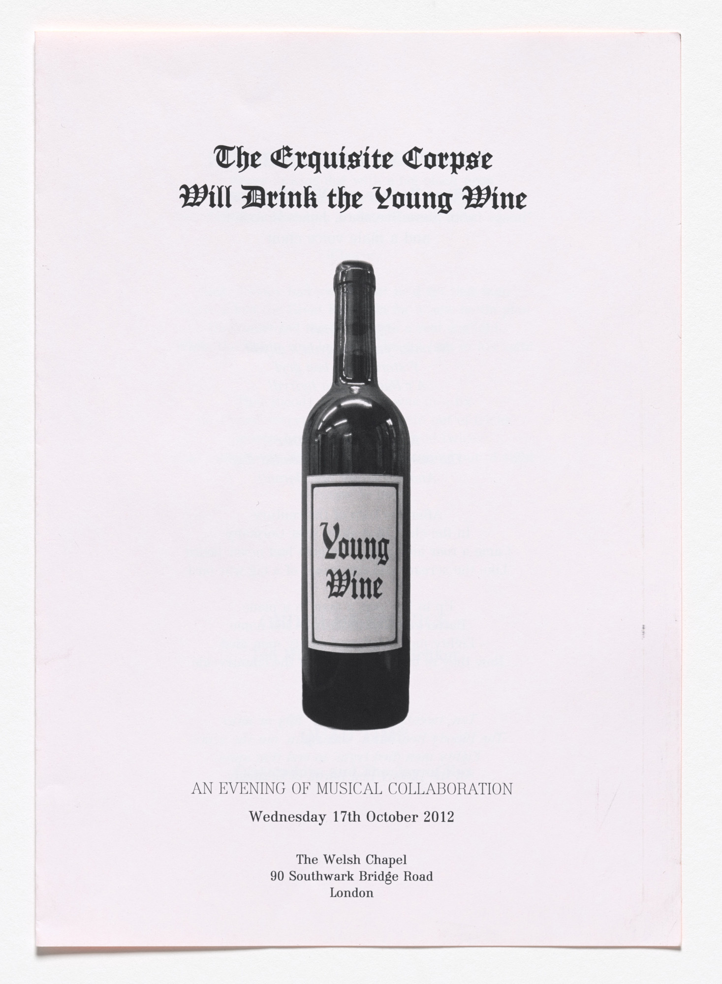 Fiona Banner. Order of Service: The Exquisite Corpse Will Drink the Young Wine. 2012