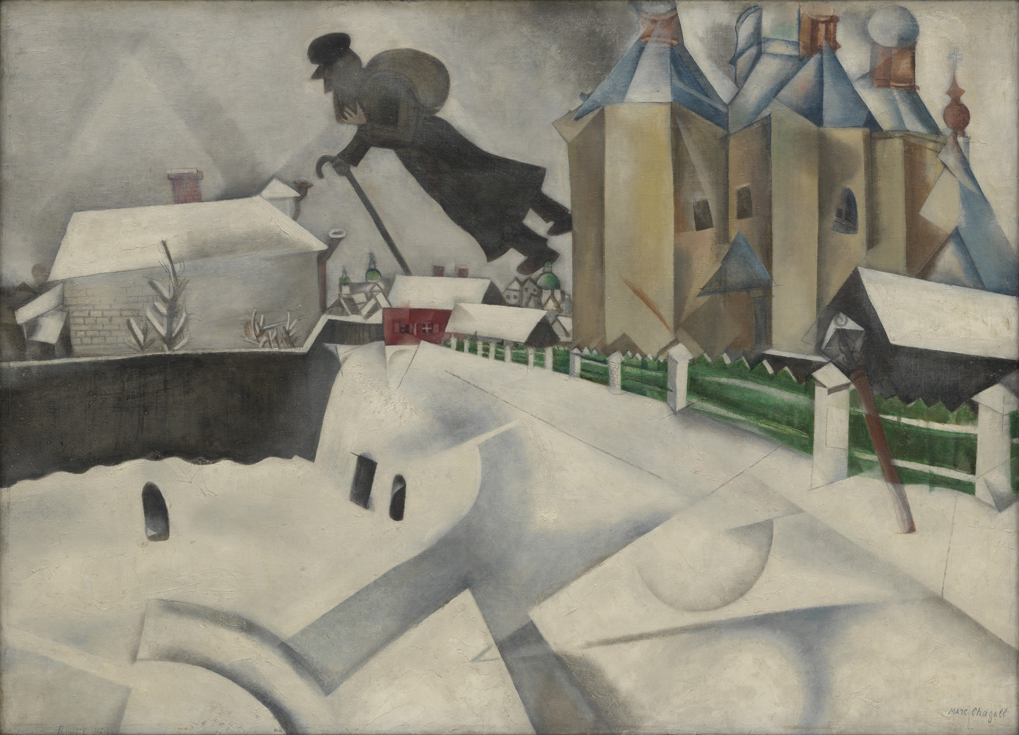 Marc Chagall. Over Vitebsk. 1915-20 (after a painting of 1914)