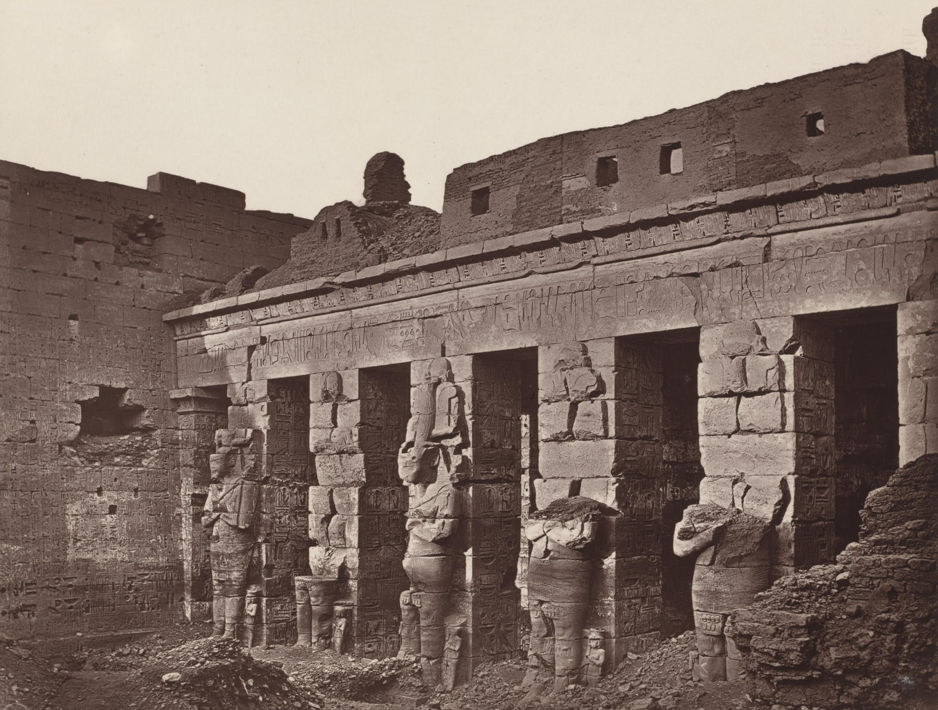 Captain William de Wiveleslie Abney. Osiride Columns in the First Court of the Great Temple. 1876