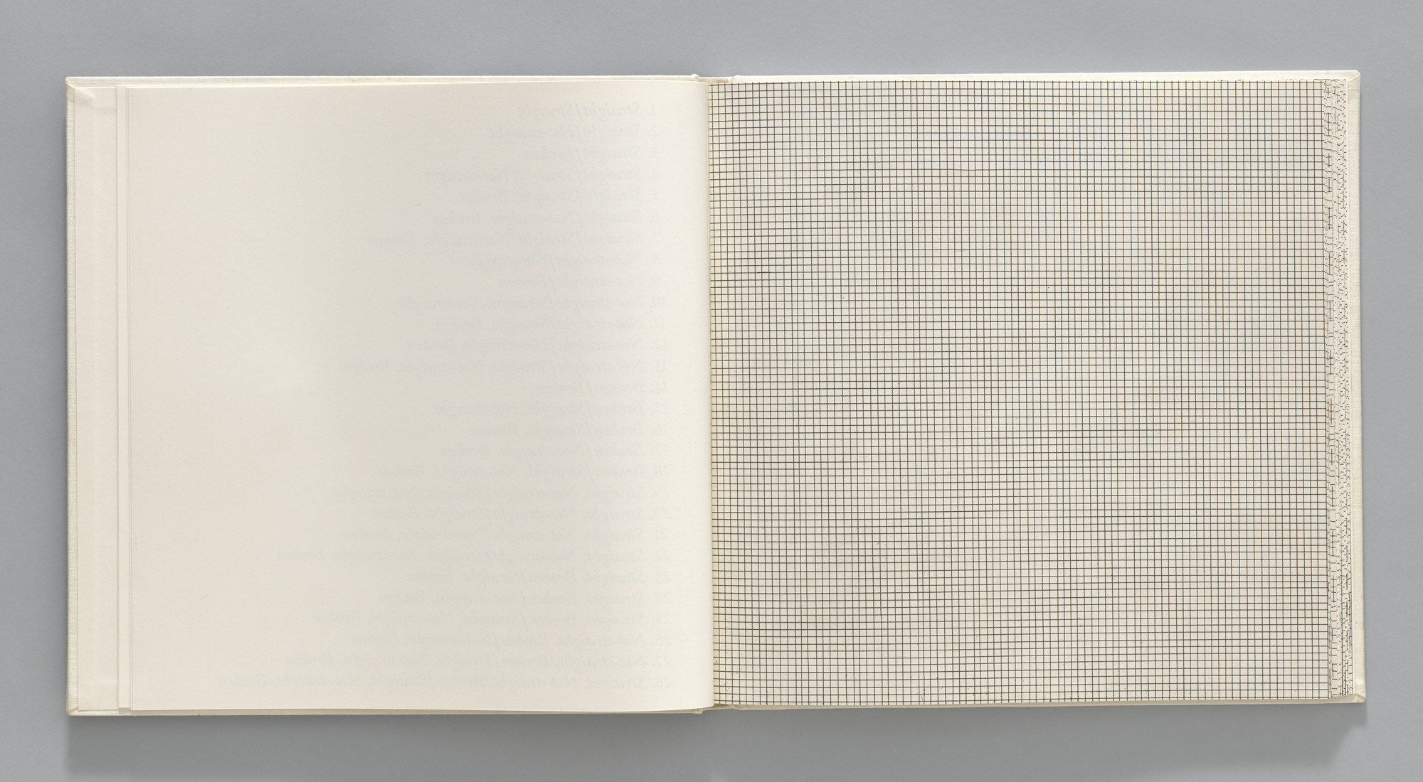 Sol LeWitt. Straight/Straight (plate, folio 4) from Grids, Using Straight Lines, Not-Broken Lines and Broken Lines in all Their Possible Combinations. 1973