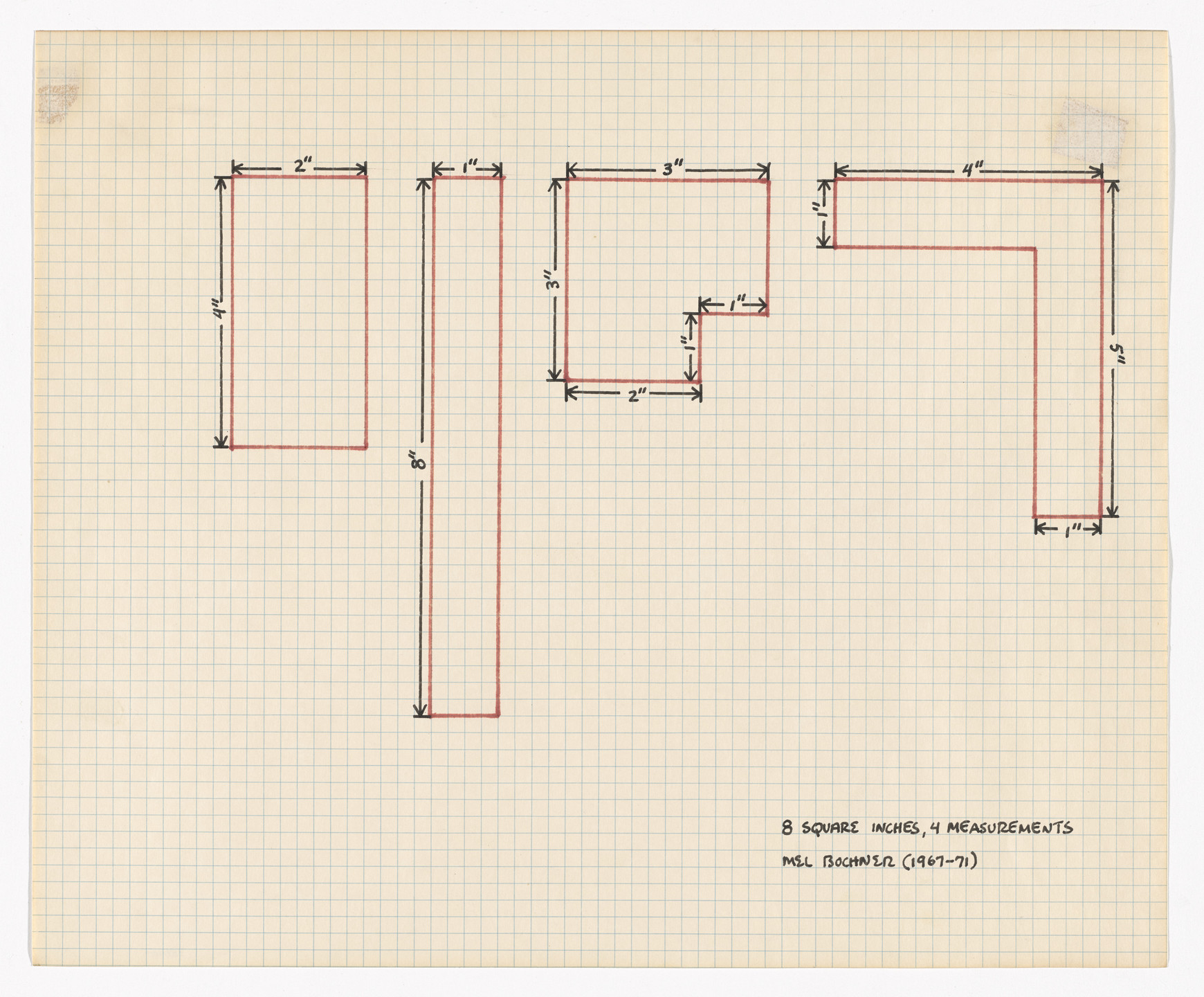 Mel Bochner. 8 Square Inches, 4 Measurements. 1967–71