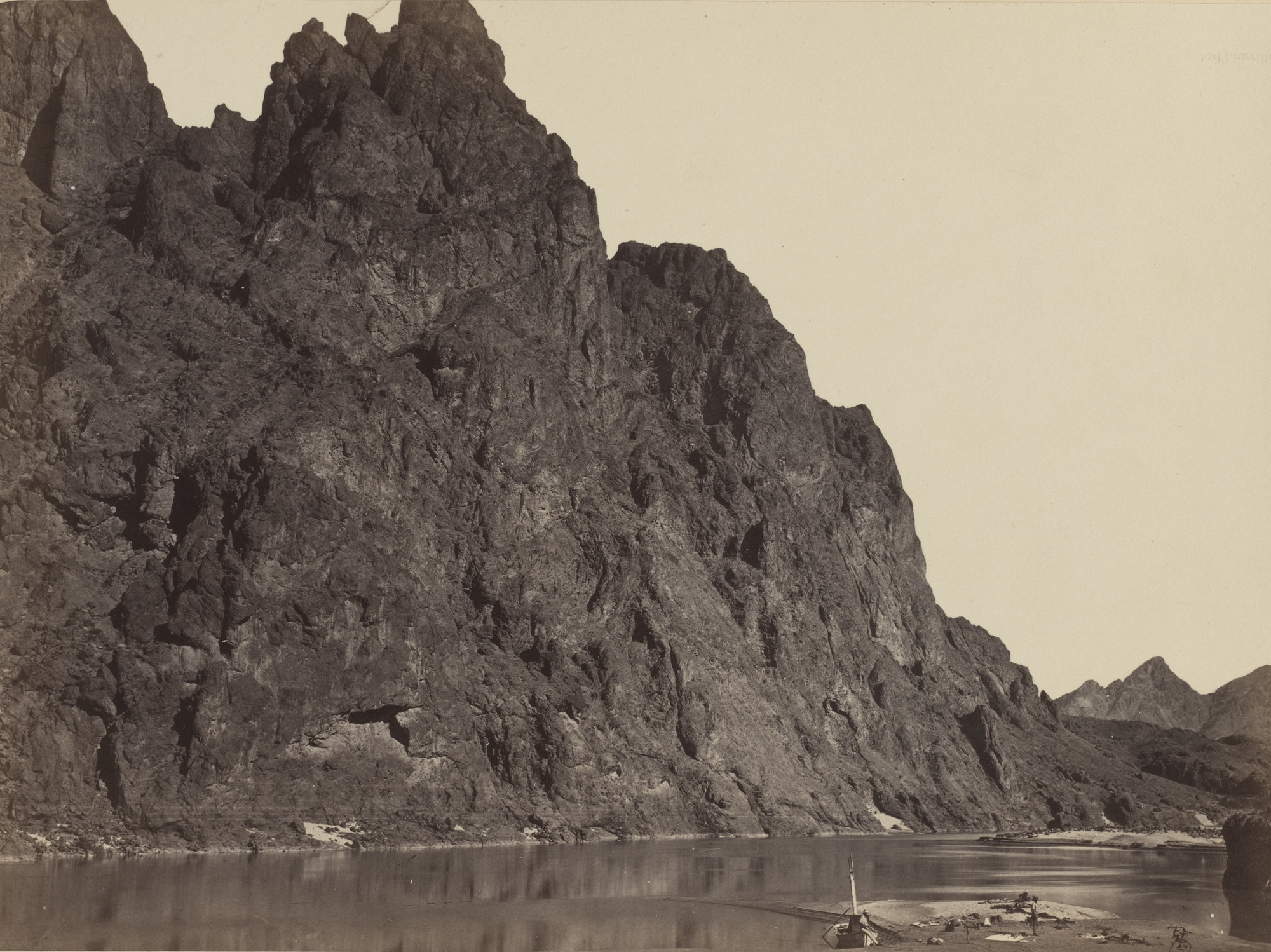 Timothy O'Sullivan. Bluff Opposite Big Horn Camp, Black Canyon, Colorado River. Seasons of 1871, 1872 and 1873