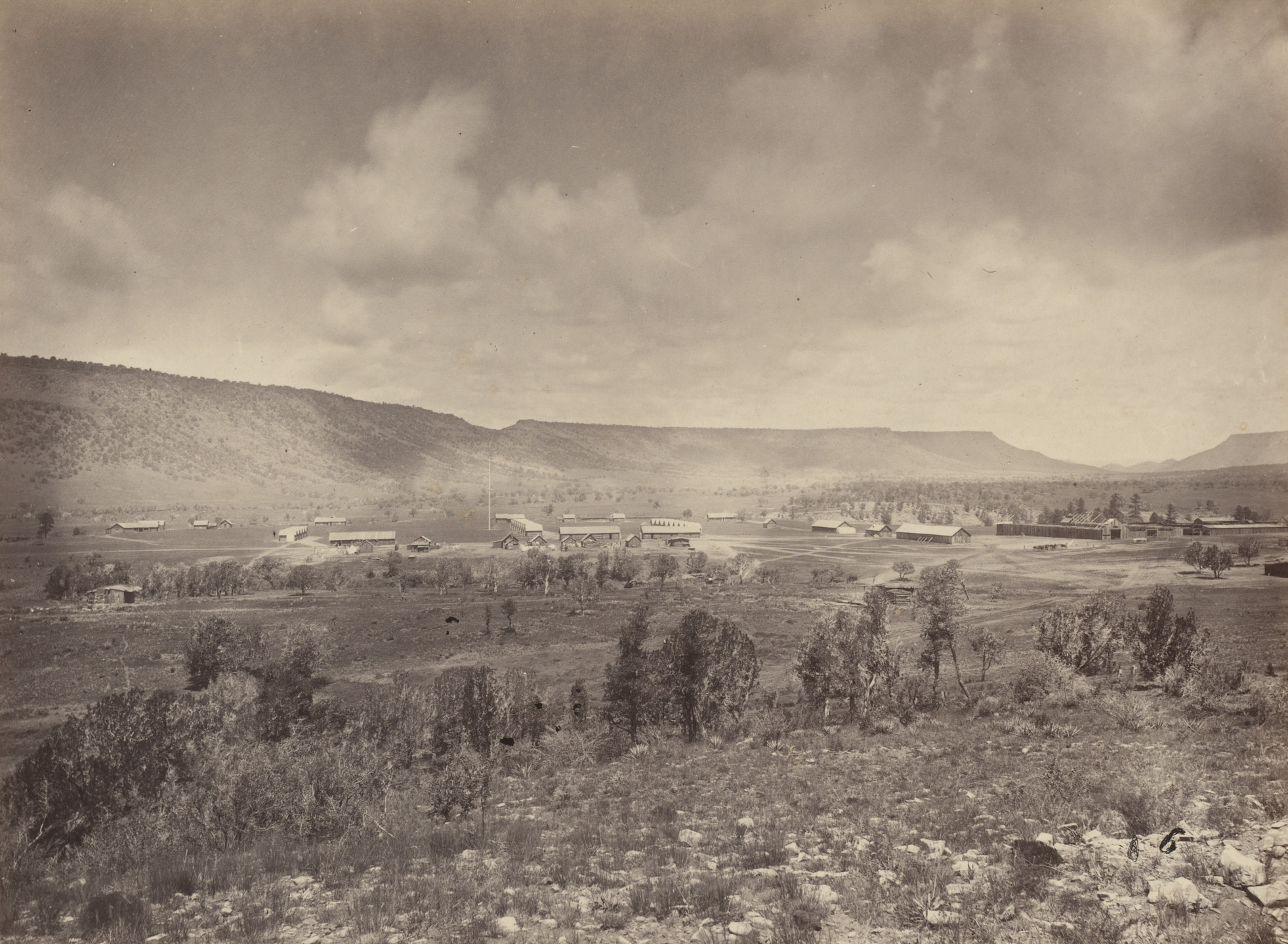 Timothy O'Sullivan. Distant View of Camp Apache, Arizona. Seasons of 1871, 1872 and 1873