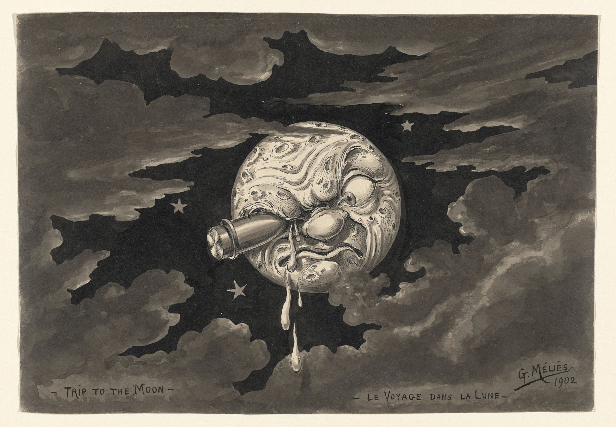 Georges Méliès. Untitled sketch for A Trip to the Moon. 1902