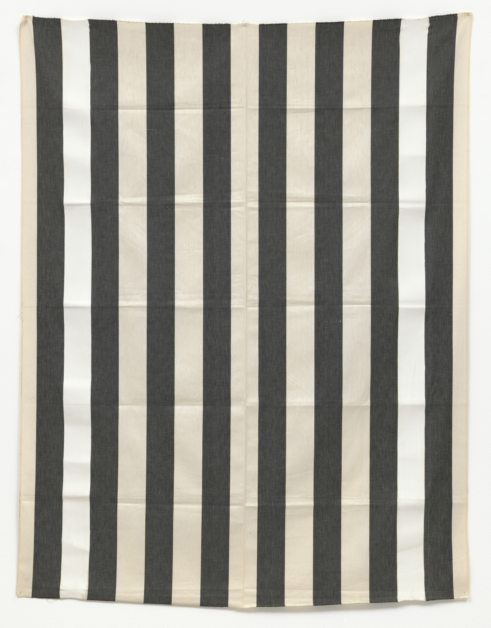 Daniel Buren. Black and white striped fabric. External white bands covered over with white paint, recto-verso. 1970