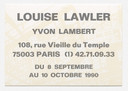 Louise Lawler. Announcement card for A Vendre, Yvon Lambert, Paris, September 8–October 10, 1990. 1990