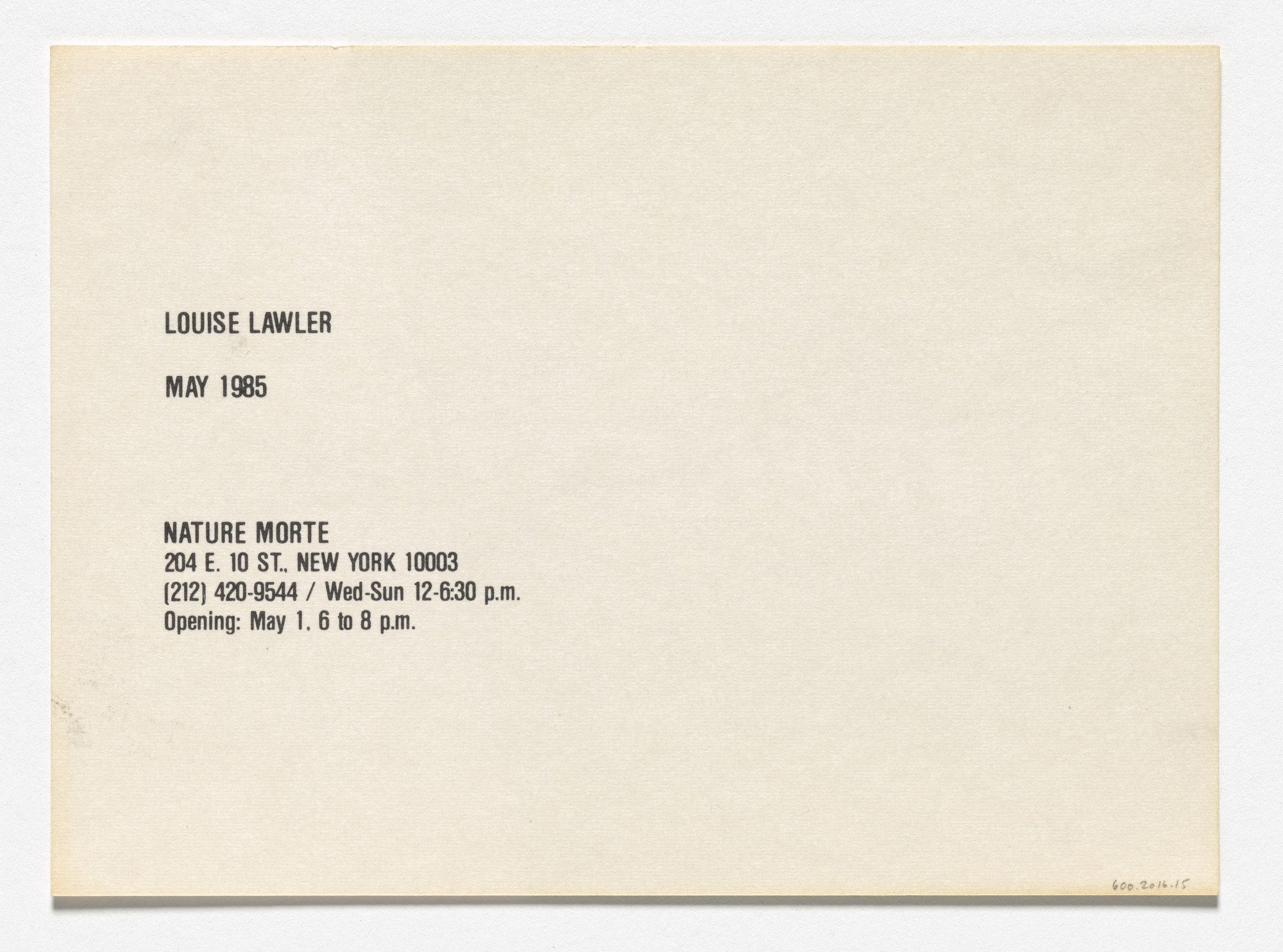 Louise Lawler. Announcement card for Interesting, Nature Morte, New York, May 1985. 1985