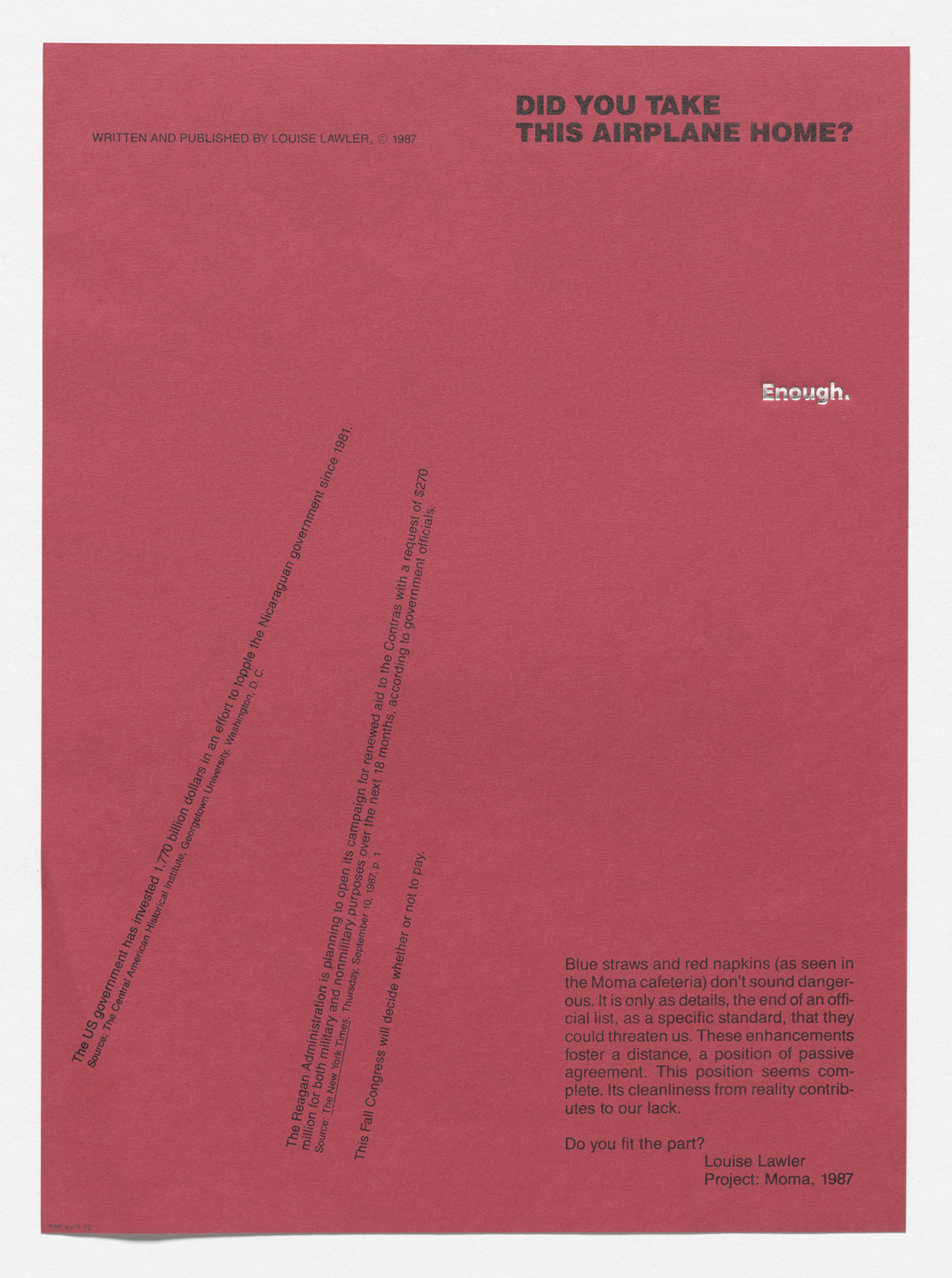 Louise Lawler. Exhibition brochure for Enough. Projects: Louise Lawler, The Museum of Modern Art, New York, September 19–November 10, 1987. 1987