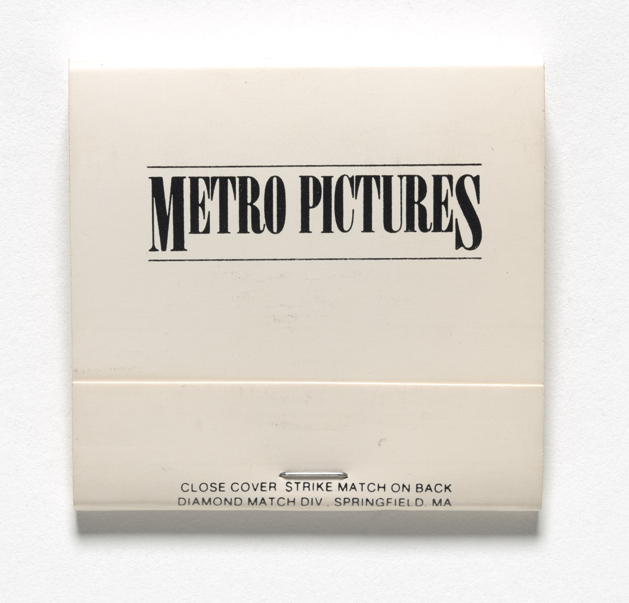 Louise Lawler. Matchbook for Arrangements of Pictures, Metro Pictures, New York, November 20–December 18, 1982. 1982