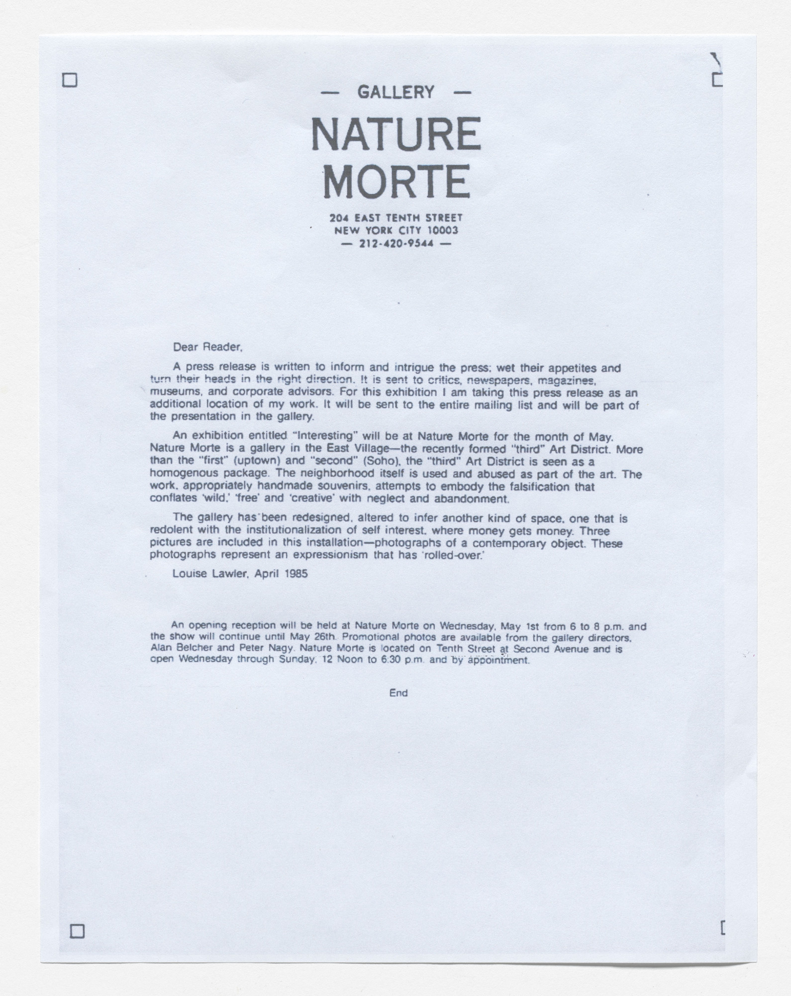 Louise Lawler. Press release for Interesting, Nature Morte, New York, April 1985. 1985