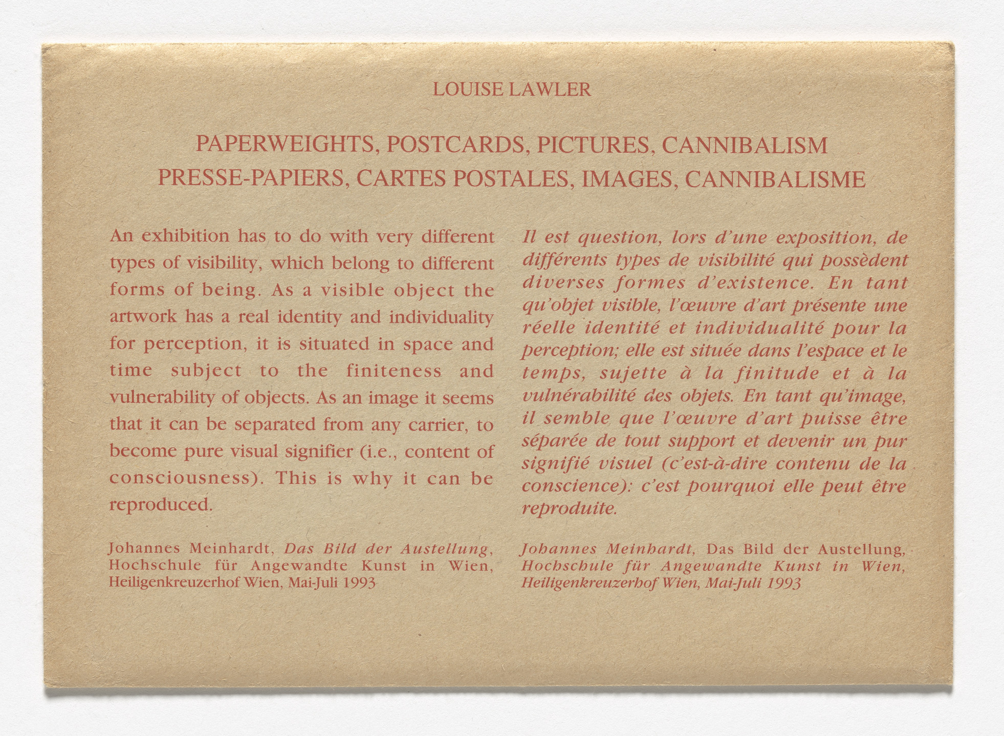 Louise Lawler. Postcards for Paperweights, Postcards, Pictures, Cannibalism, Centre d'Art Contemporain, Geneva, January 20–February 27, 1994. 1994