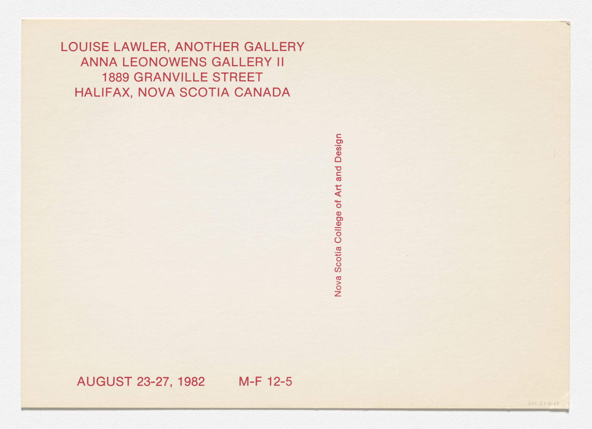 Louise Lawler. Announcement card for Another Gallery, Anna Leonowens Gallery II, Nova Scotia College of Art and Design, Halifax, August 23–27, 1982. 1982